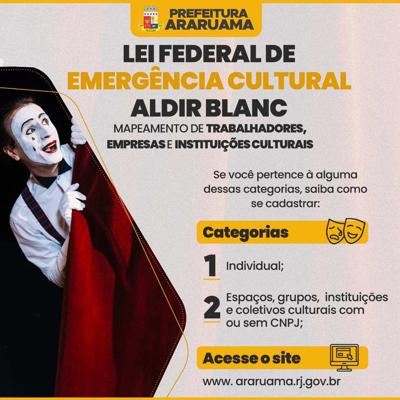 Prefeitura de Araruama realiza, em decorrência do Coronavírus, mapeamento de trabalhadores, empresas e instituições culturais, para atender a Lei Federal de Emergência Cultural Aldir Blanc