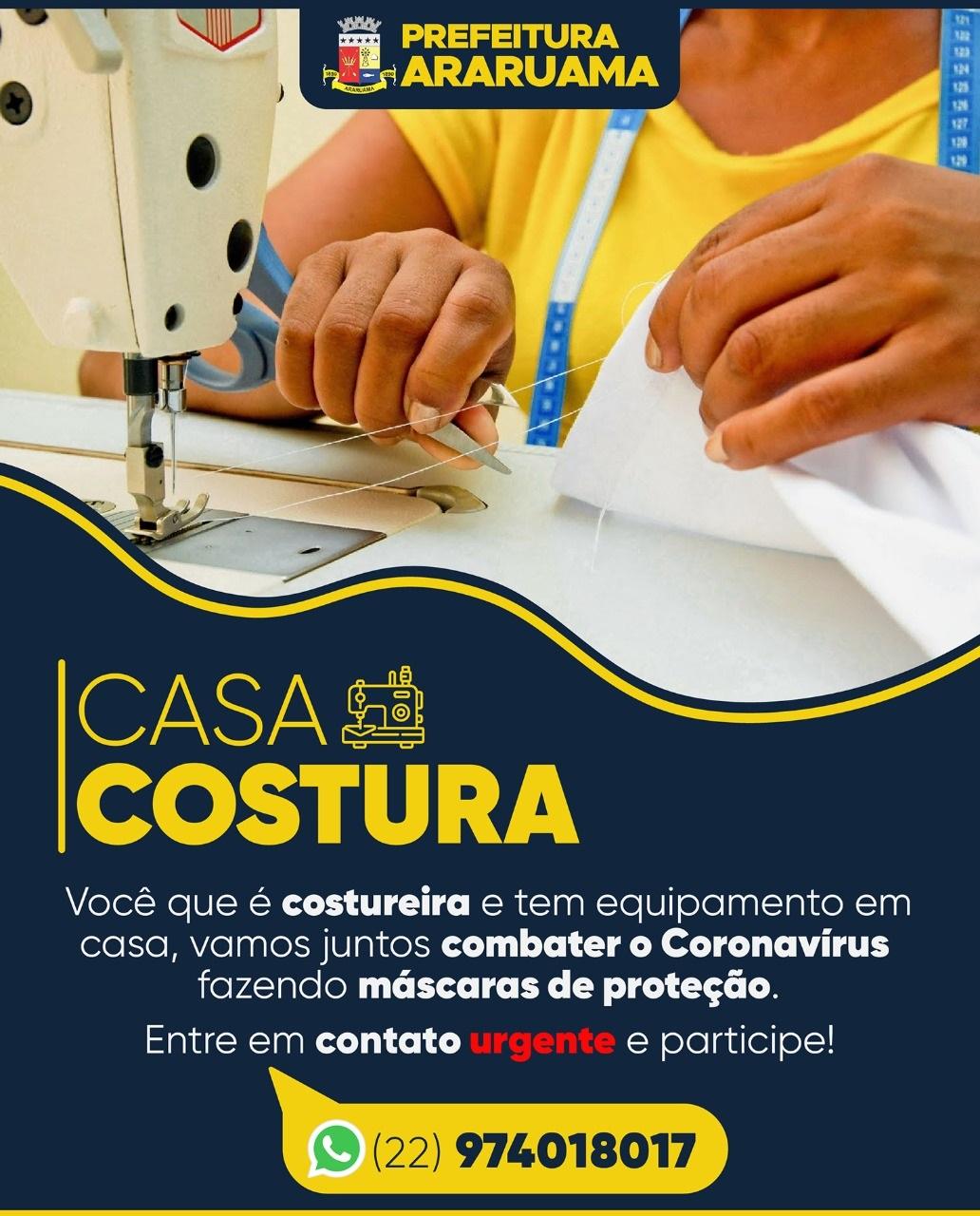 """Prefeitura de Araruama lança o projeto """"Casa Costura"""" para ajudar conter pandemia do Coronavírus"""