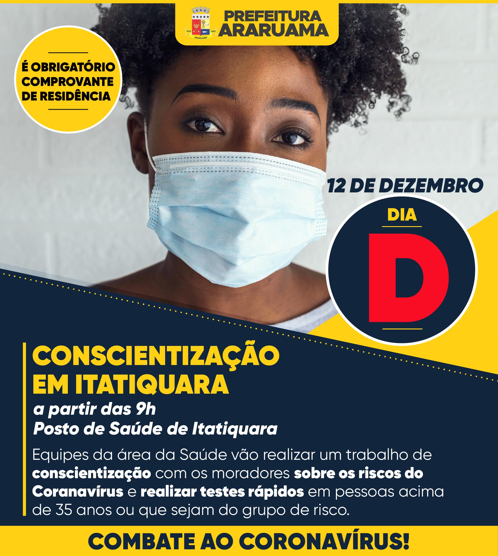 Prefeitura de Araruama vai realizar Dia D da Conscientização sobre os riscos e prevenção ao Coronavírus no bairro Itatiquara