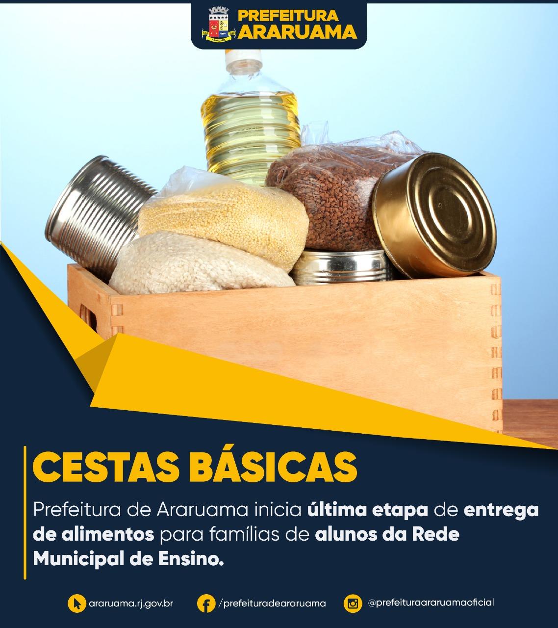 Prefeitura de Araruama vai realizar última etapa de entrega de cestas básicas para famílias de alunos da Rede Municipal de Ensino
