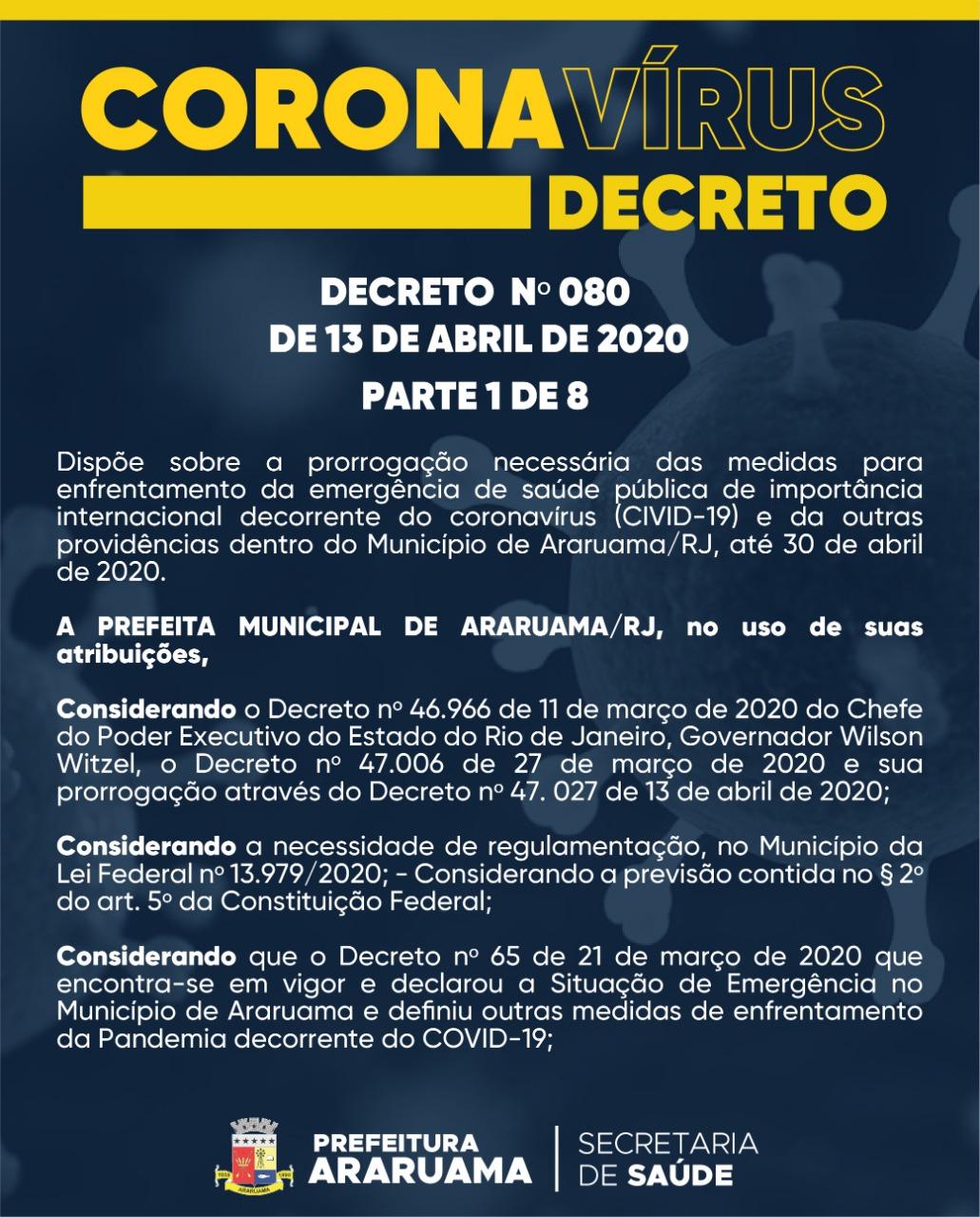 Prefeitura de Araruama prorroga medidas contra o COVID-19 em novo decreto até dia 30 de abril