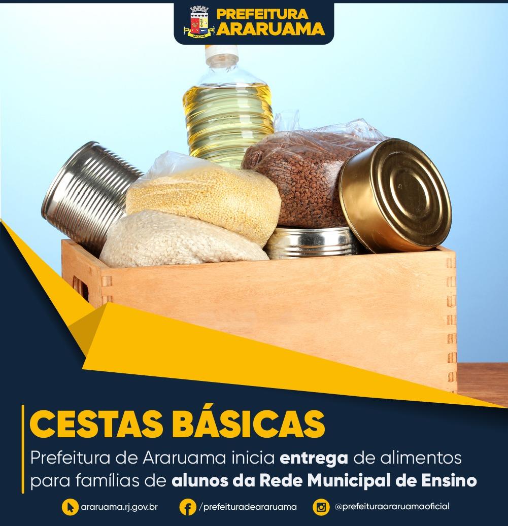 Prefeitura de Araruama realiza restante da etapa de entrega de cestas básicas para famílias de alunos da Rede Municipal de Ensino