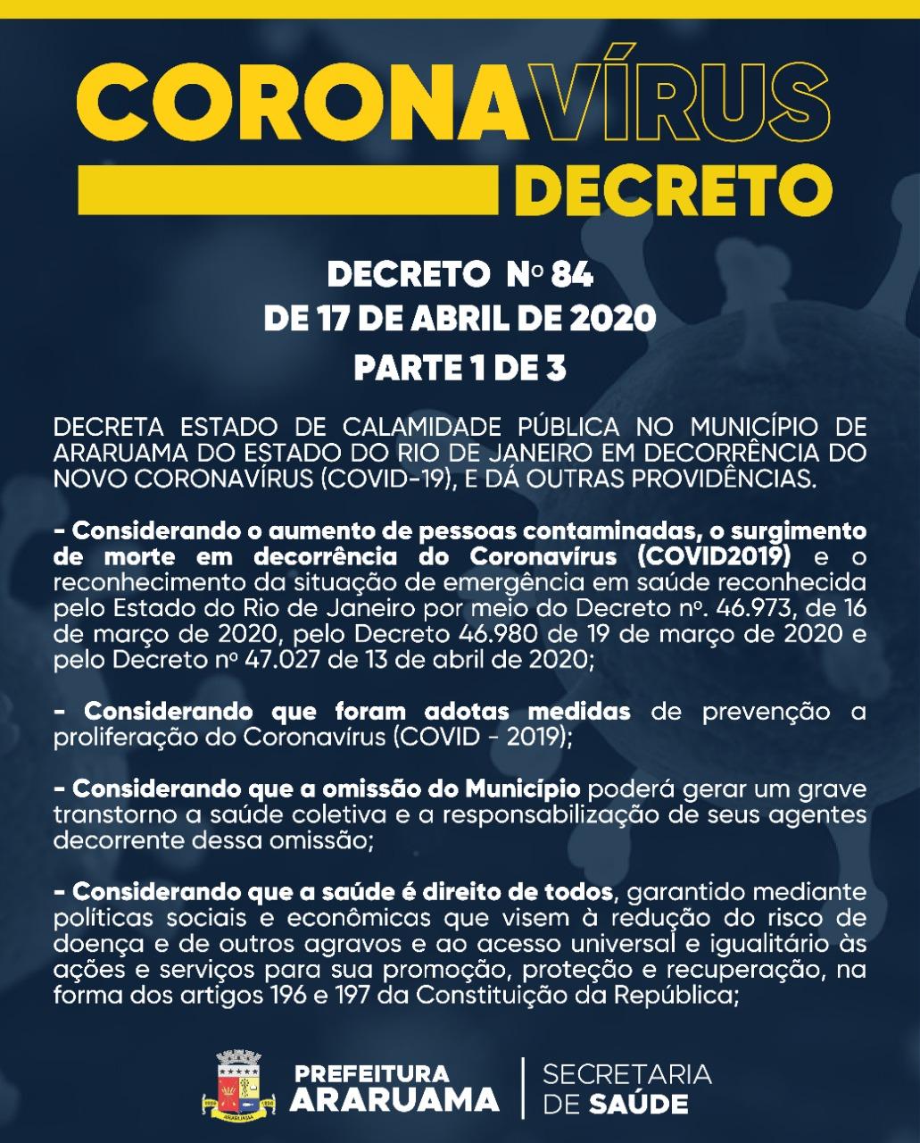 Prefeitura de Araruama decreta Estado de Calamidade Pública em virtude da pandemia do Coronavírus