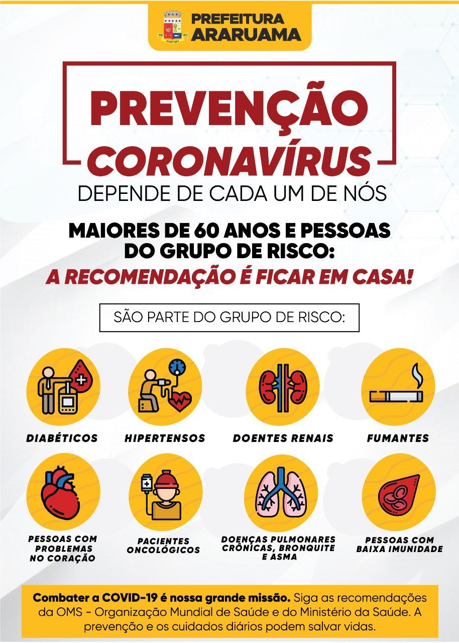 Prefeitura de Araruama divulga informações sobre os Grupos de Risco   x CORONAVÍRUS