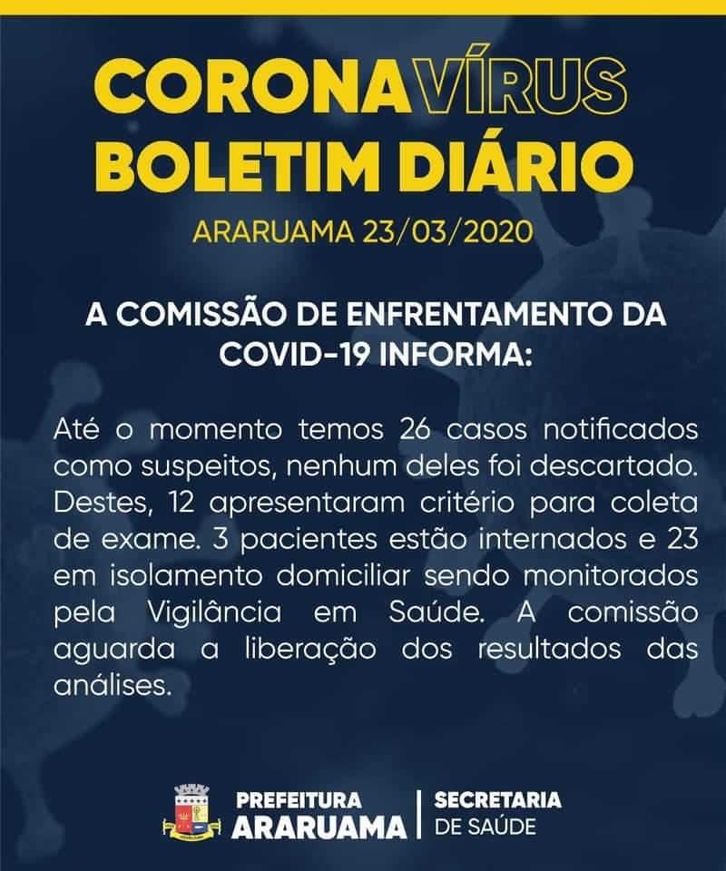 COVID-19: BOLETIM DIÁRIO 23/03/2020