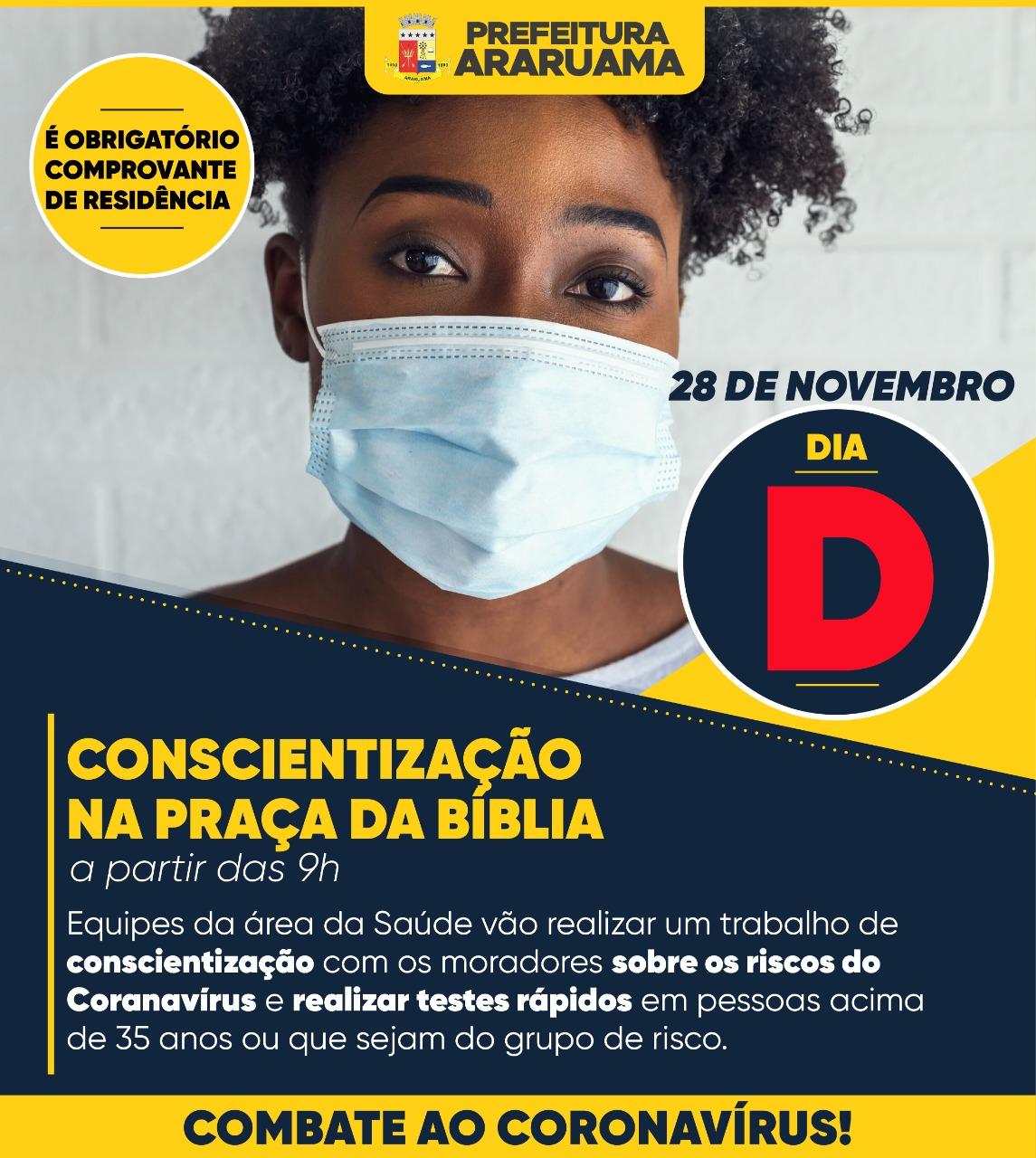 Prefeitura de Araruama vai realizar Dia D de Conscientização sobre os riscos do Coronavírus na Praça da Bíblia, Centro
