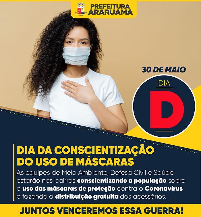Prefeitura de Araruama vai realizar Dia D de Conscientização do uso de máscaras de proteção