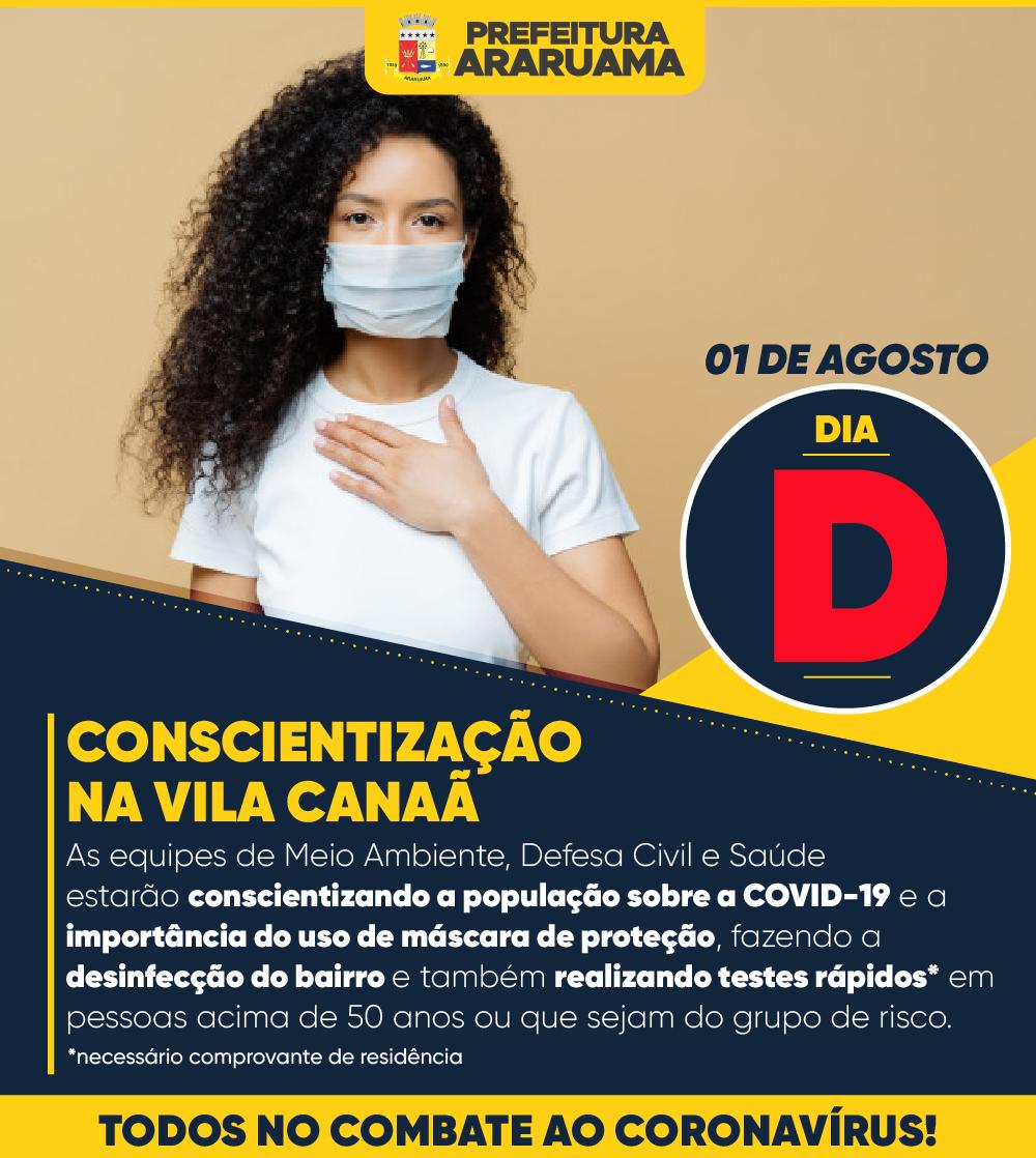Prefeitura de Araruama vai realizar Dia D de prevenção e combate ao Coronavírus na Vila Canaã