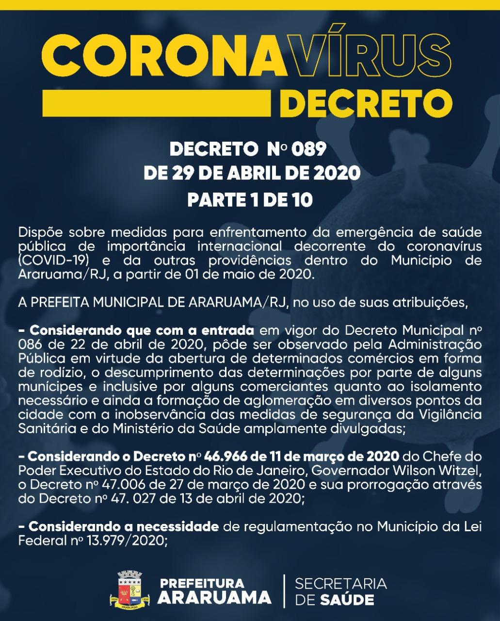 Prefeitura de Araruama determina novas medidas contra o COVID-19 devido não cumprimento integral do Decreto 086 de 22 de abril de 2020