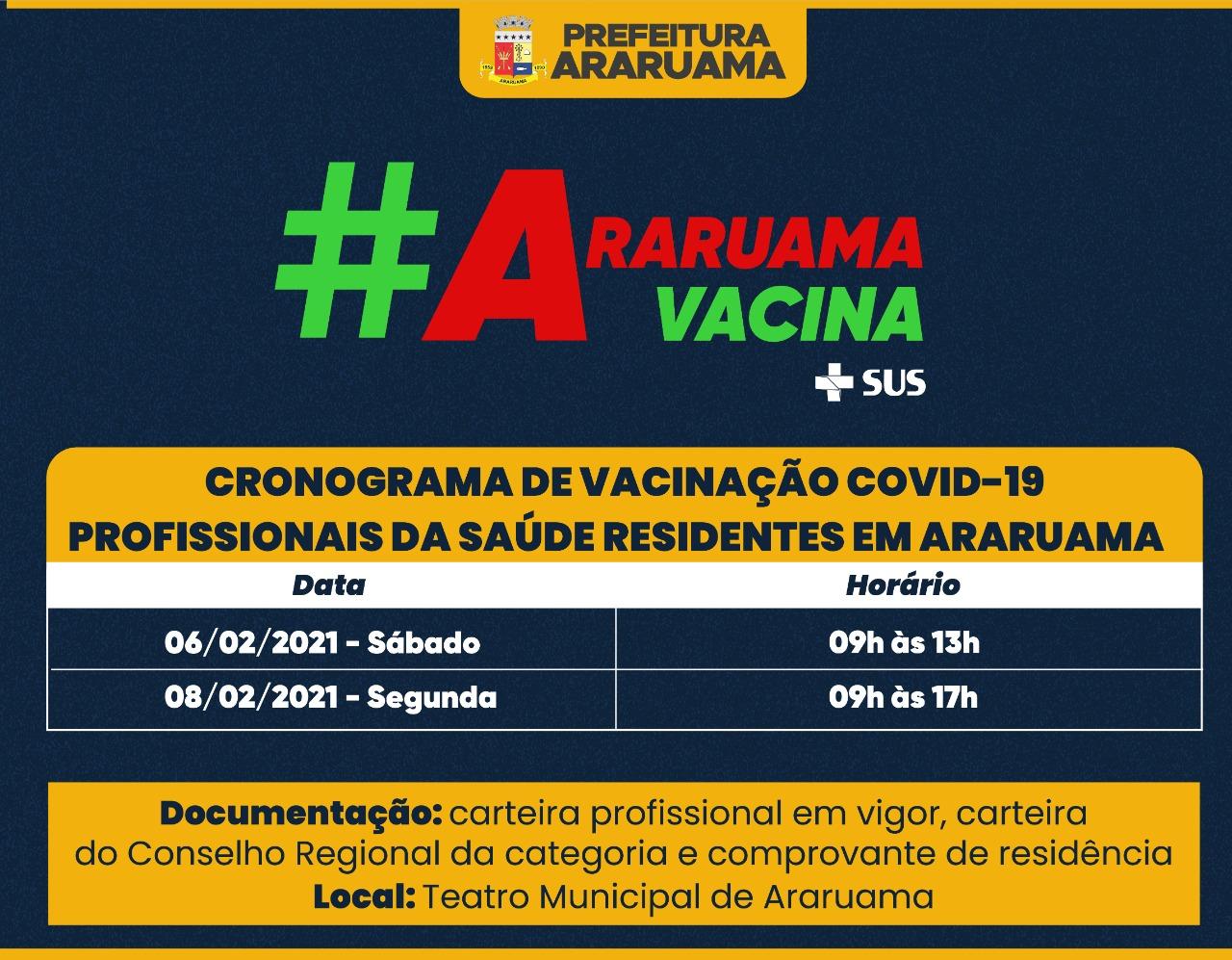 Prefeitura monta cronograma para vacinar contra Covid-19 profissionais da Saúde residentes em Araruama