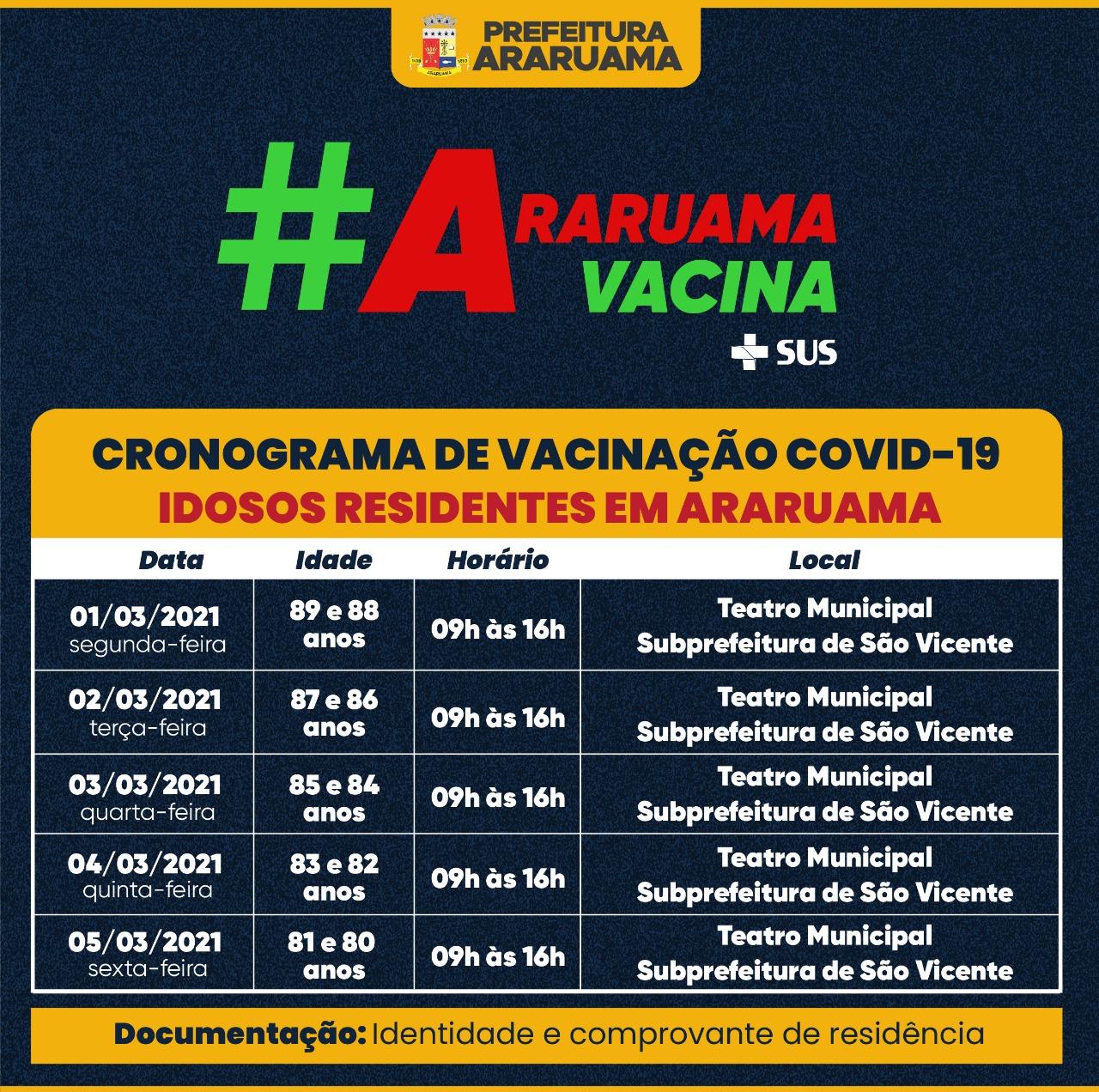 Prefeitura de Araruama inicia vacinação de idosos de 80 a 89 anos