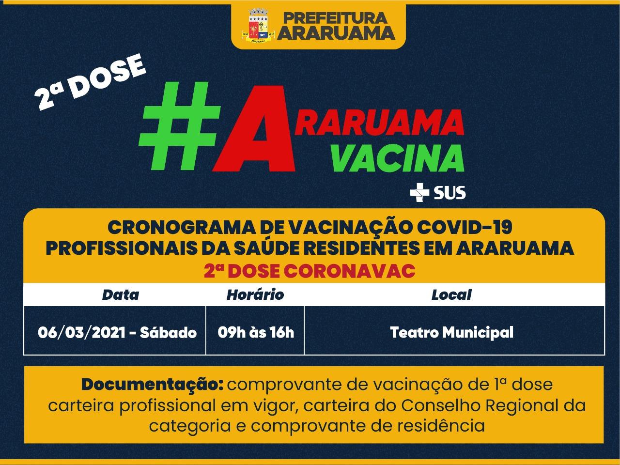 Prefeitura de Araruama divulga cronograma para vacinação da segunda dose da Coronavac para profissionais da Saúde que residem no município