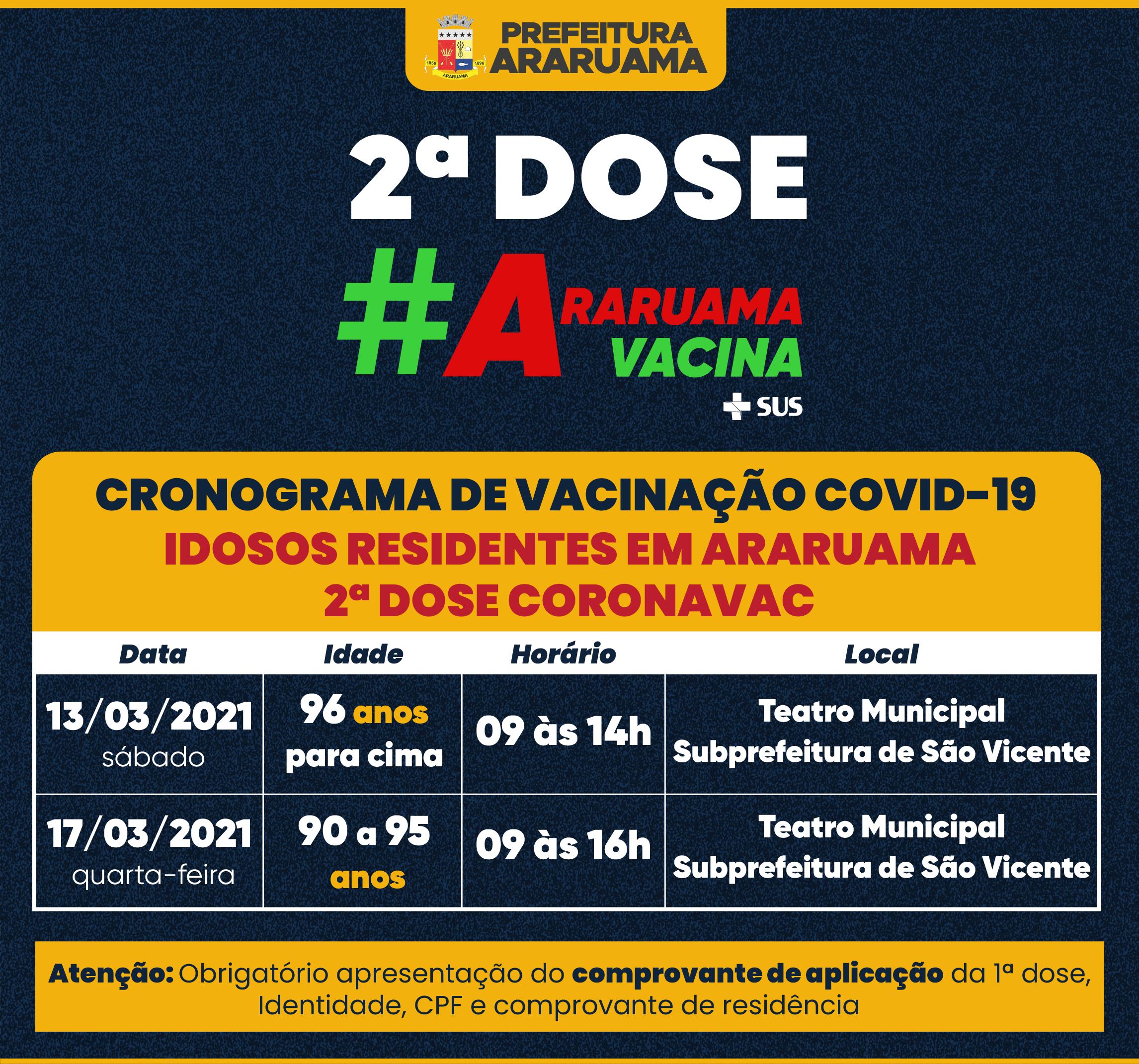 Prefeitura de Araruama divulga cronograma de 2ª Dose da vacina Coronavac para os idosos de 96 anos pra cima e de 90 a 95 anos.