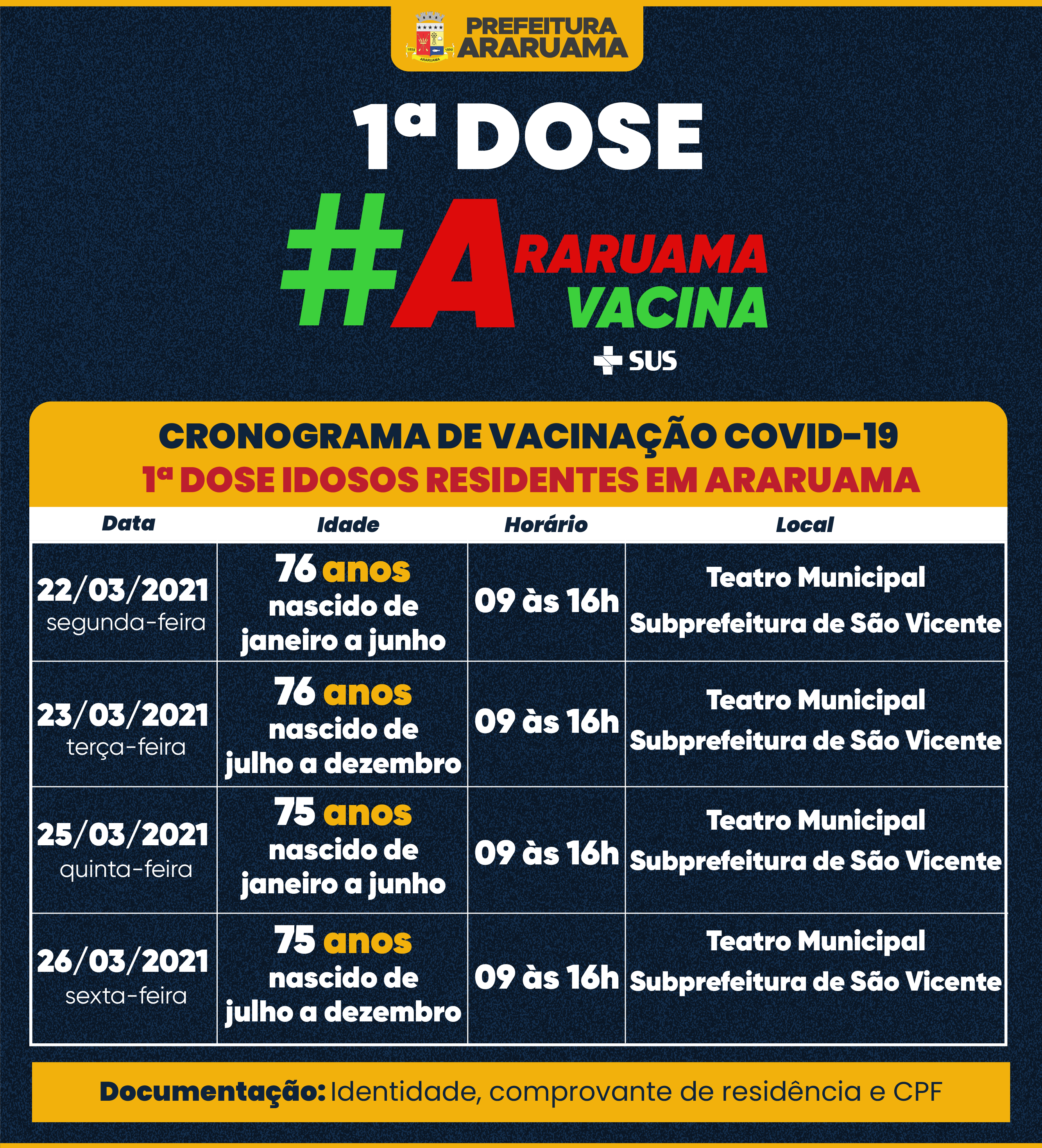 Prefeitura de Araruama divulga Calendário de Vacinação para idosos de 75 e 76 anos