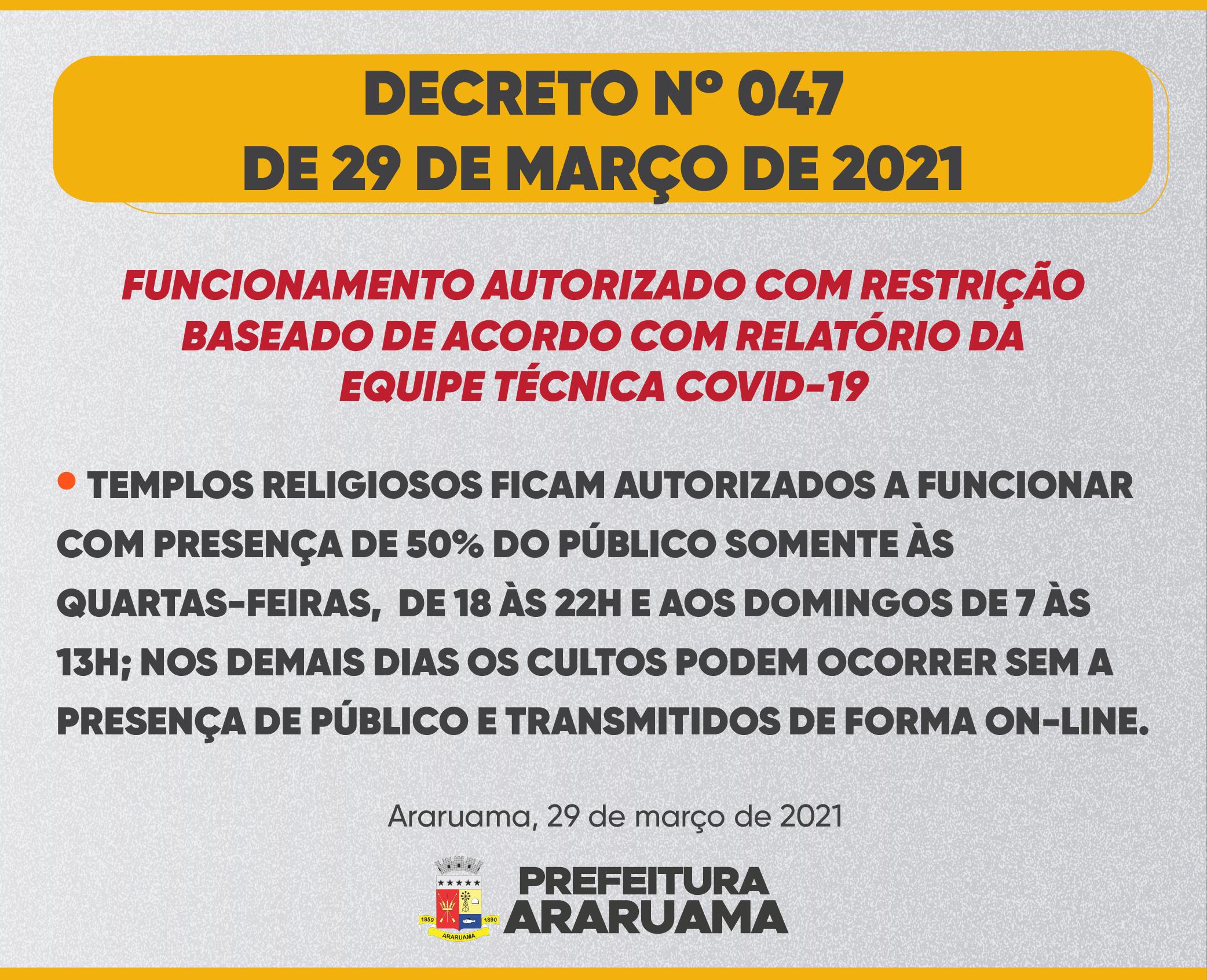 Decreto nº 47 de 29 de março de 2021
