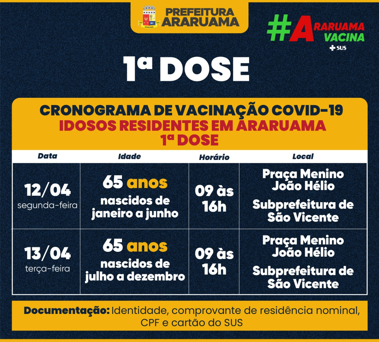 Calendário de vacinação para a primeira dose em idosos de 65 anos