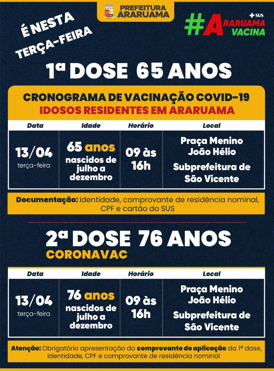 Calendário de vacinação para essa terça-feira, 13