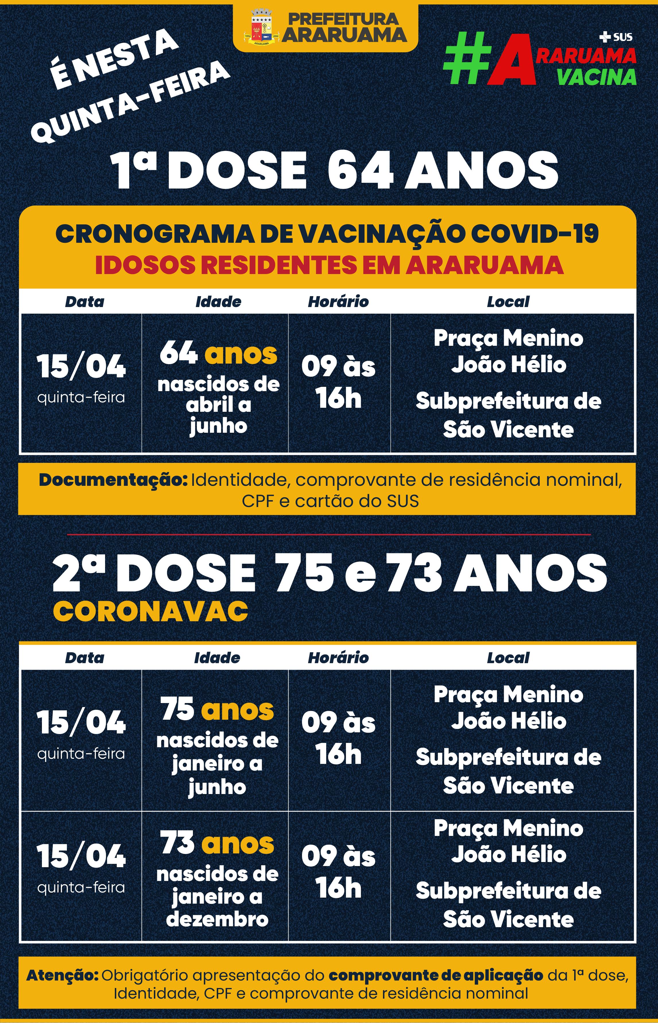 Calendário de vacinação para essa quinta-feira, 15