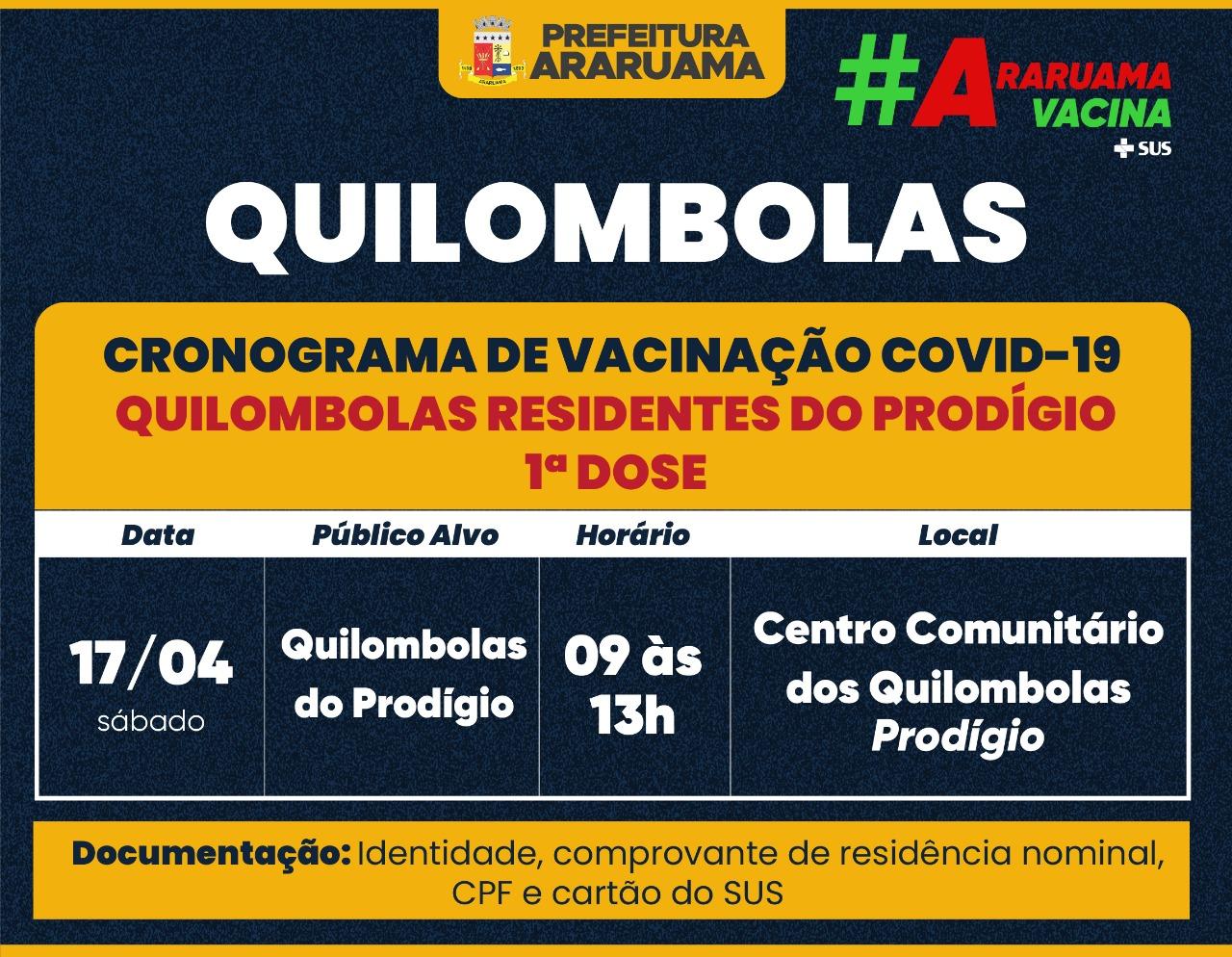 Calendário de vacinação para Quilombolas do Prodígio