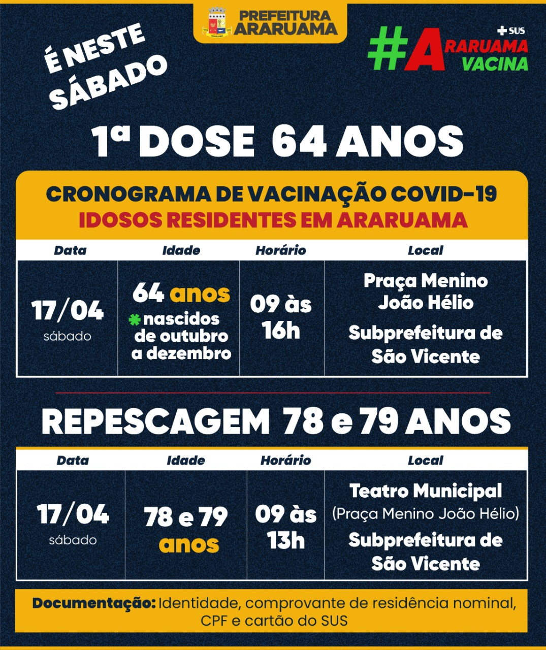 Calendário de vacinação para esse sábado, 17