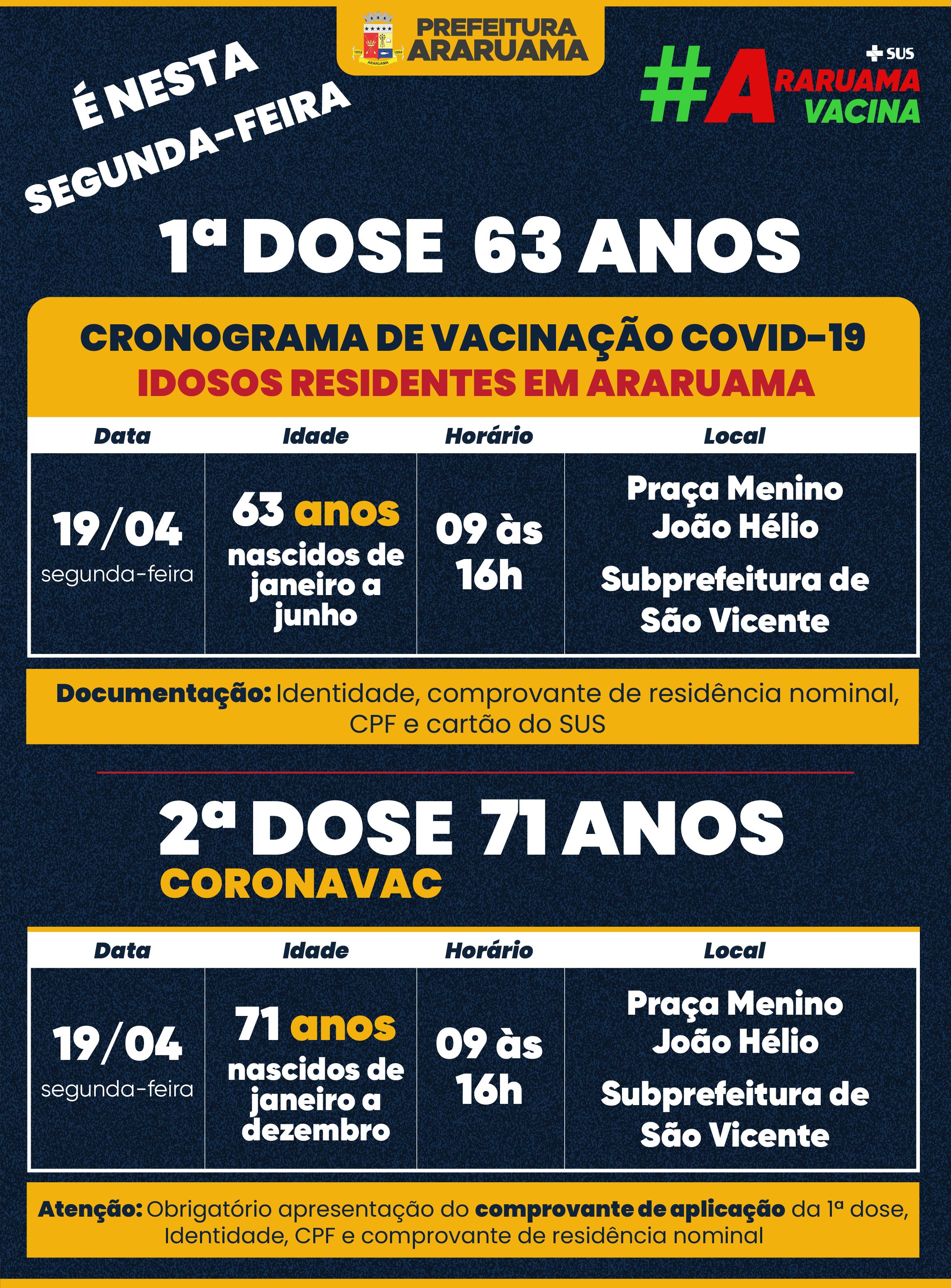 Calendário de vacinação para essa segunda-feira, 19