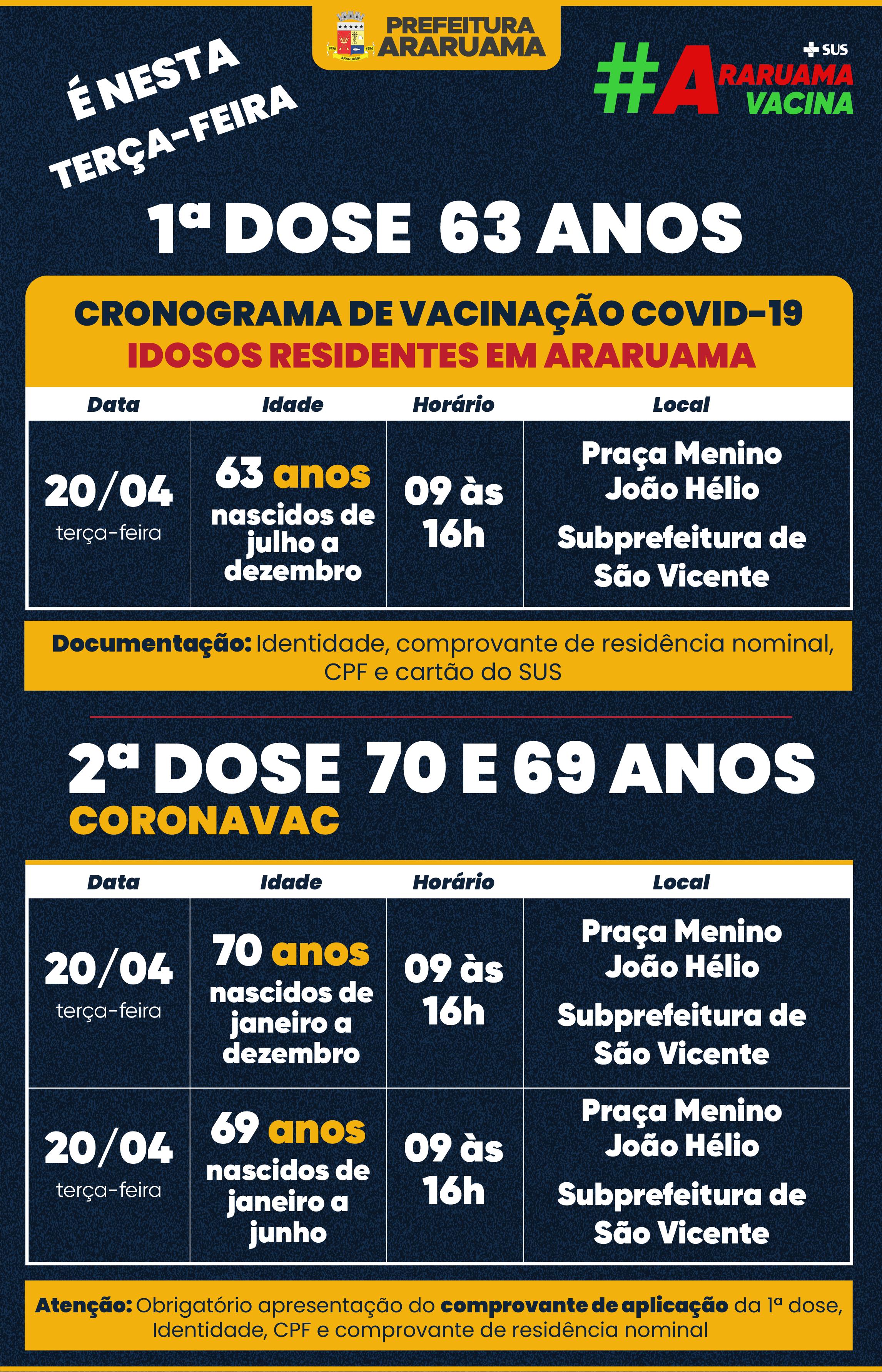 Calendário de vacinação para essa terça-feira, 20