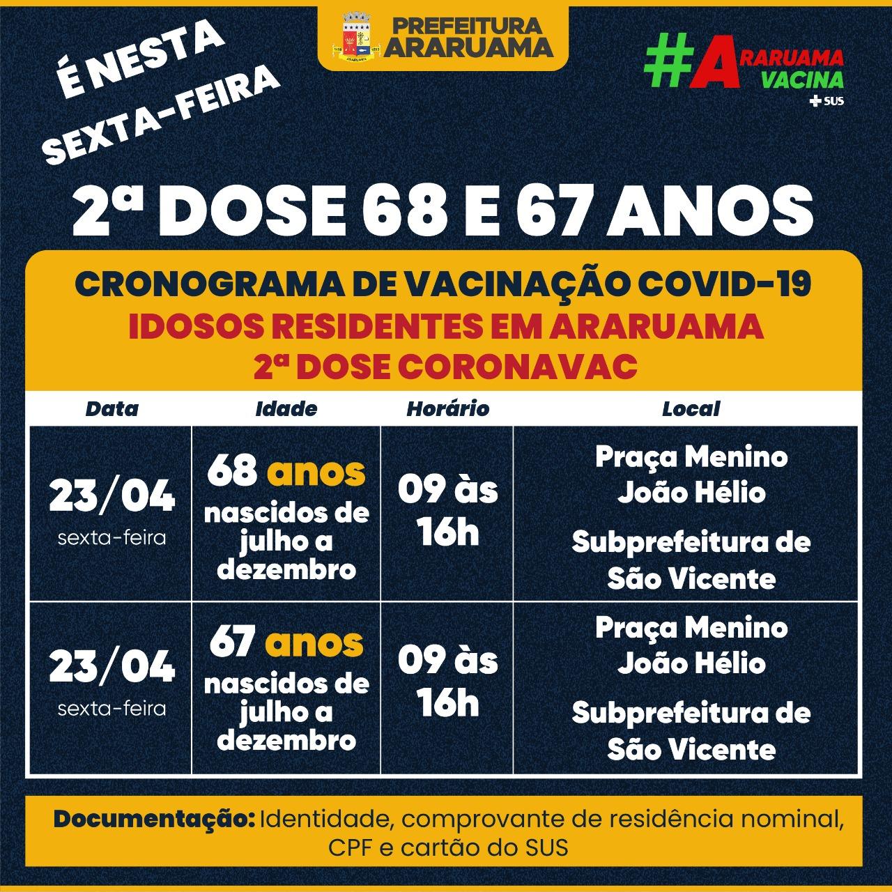 Calendário de vacinação da segunda dose da Coronavac para essa sexta-feira, 23