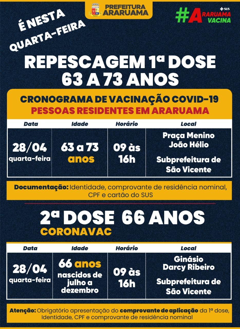 Calendário de vacinação para essa quarta-feira, 28