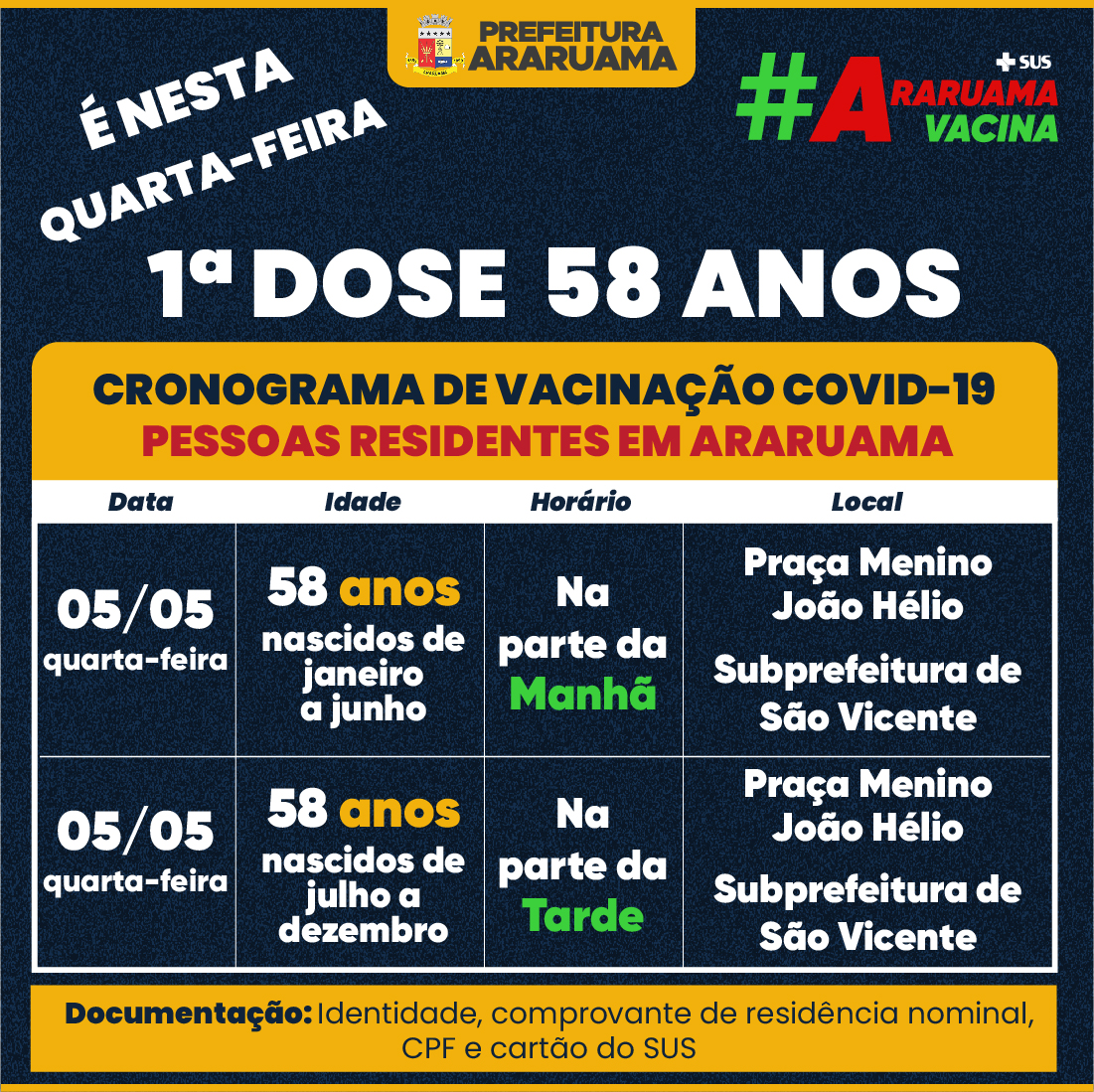 Calendário de vacinação para essa quarta-feira, 05