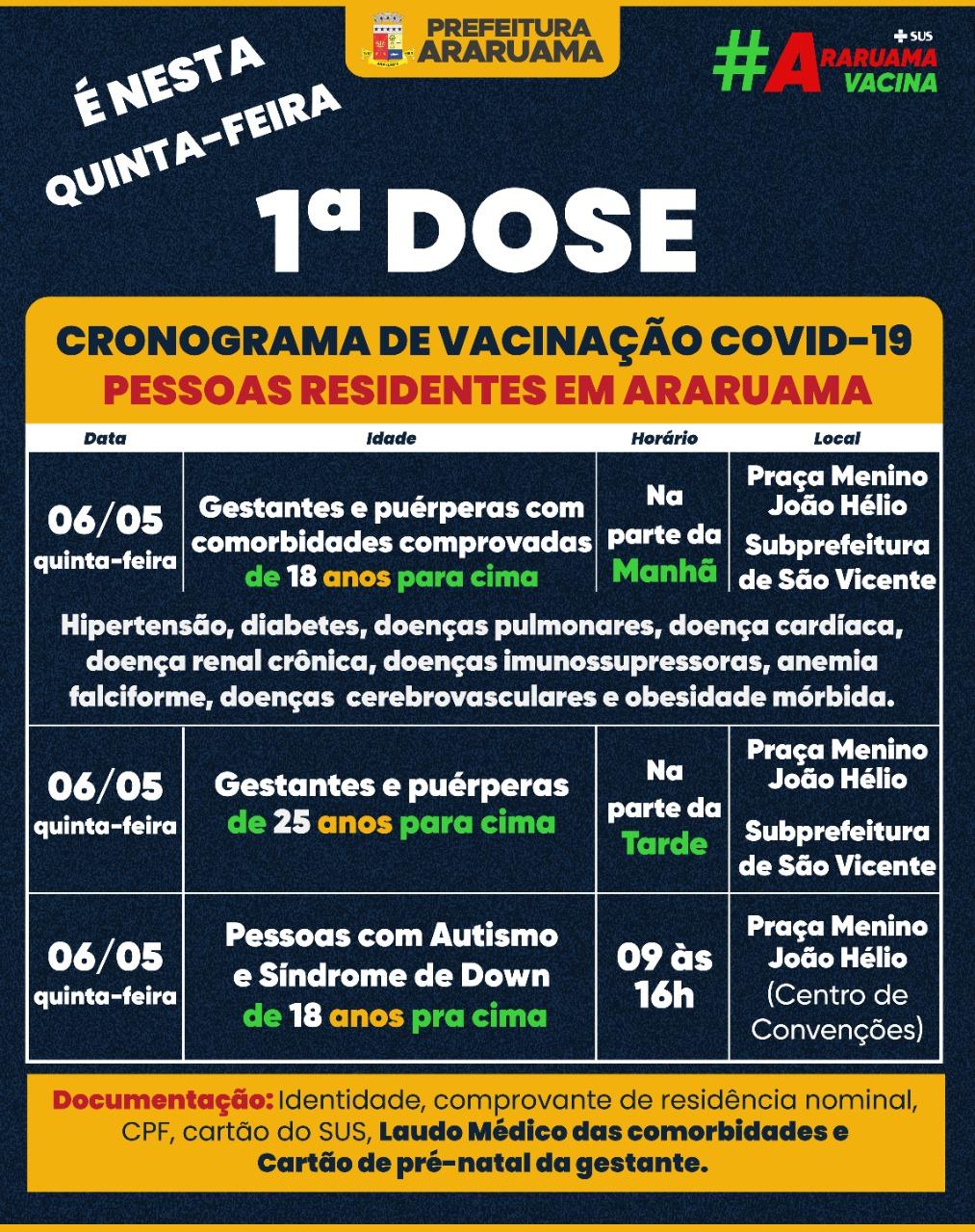 Calendário de vacinação para essa quinta-feira, 06