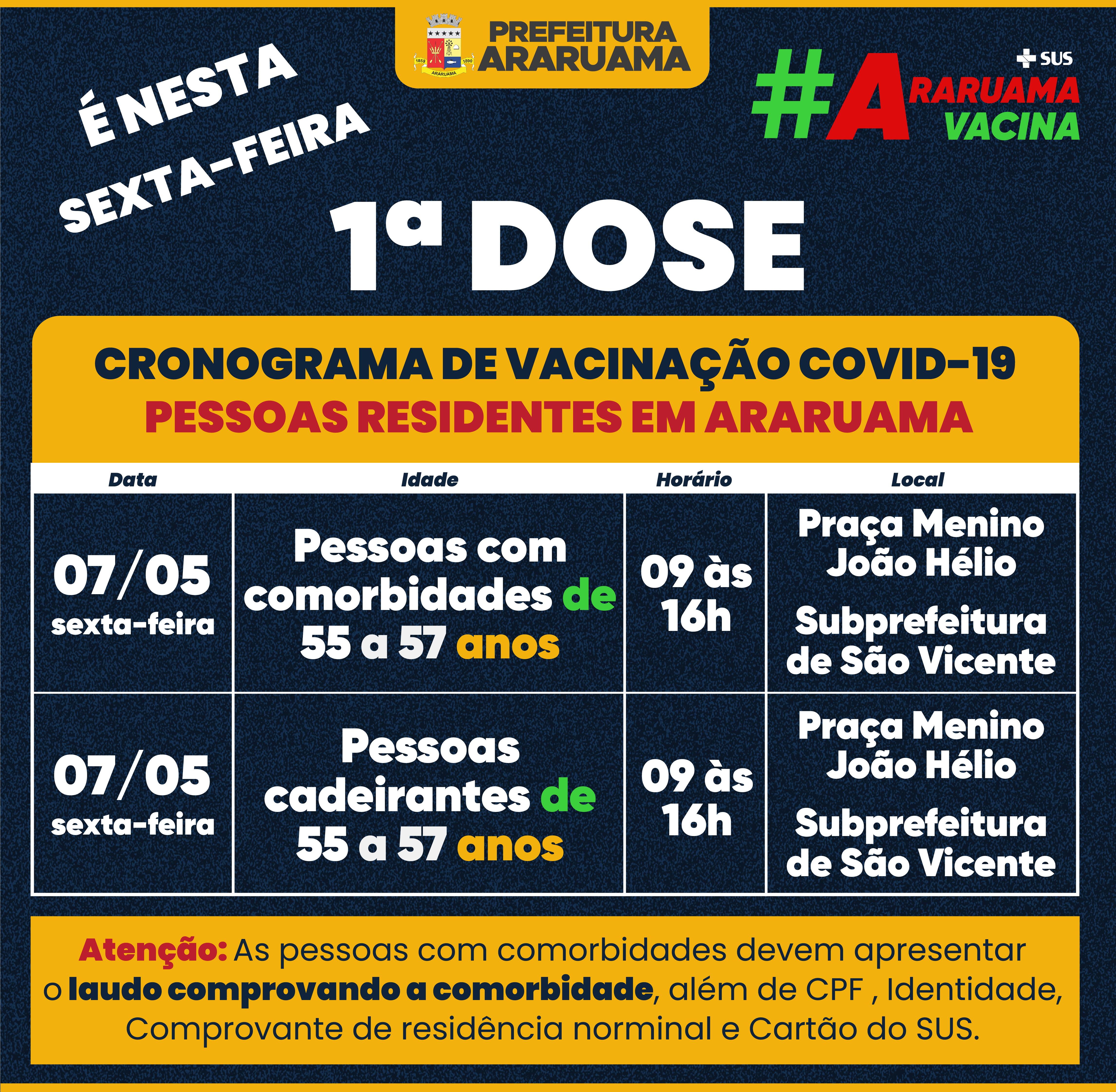Calendário de vacinação da primeira dose para sexta-feira, 07