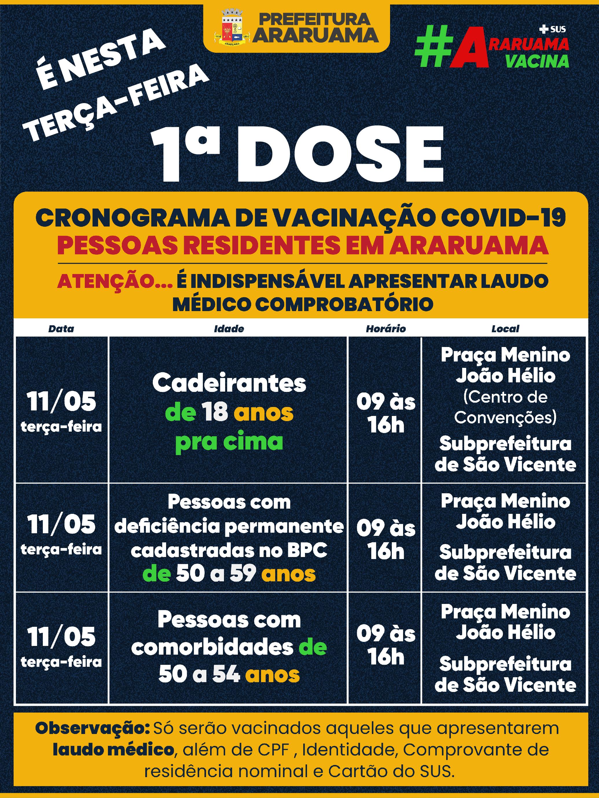 Calendário de vacinação para essa terça-feira, 11