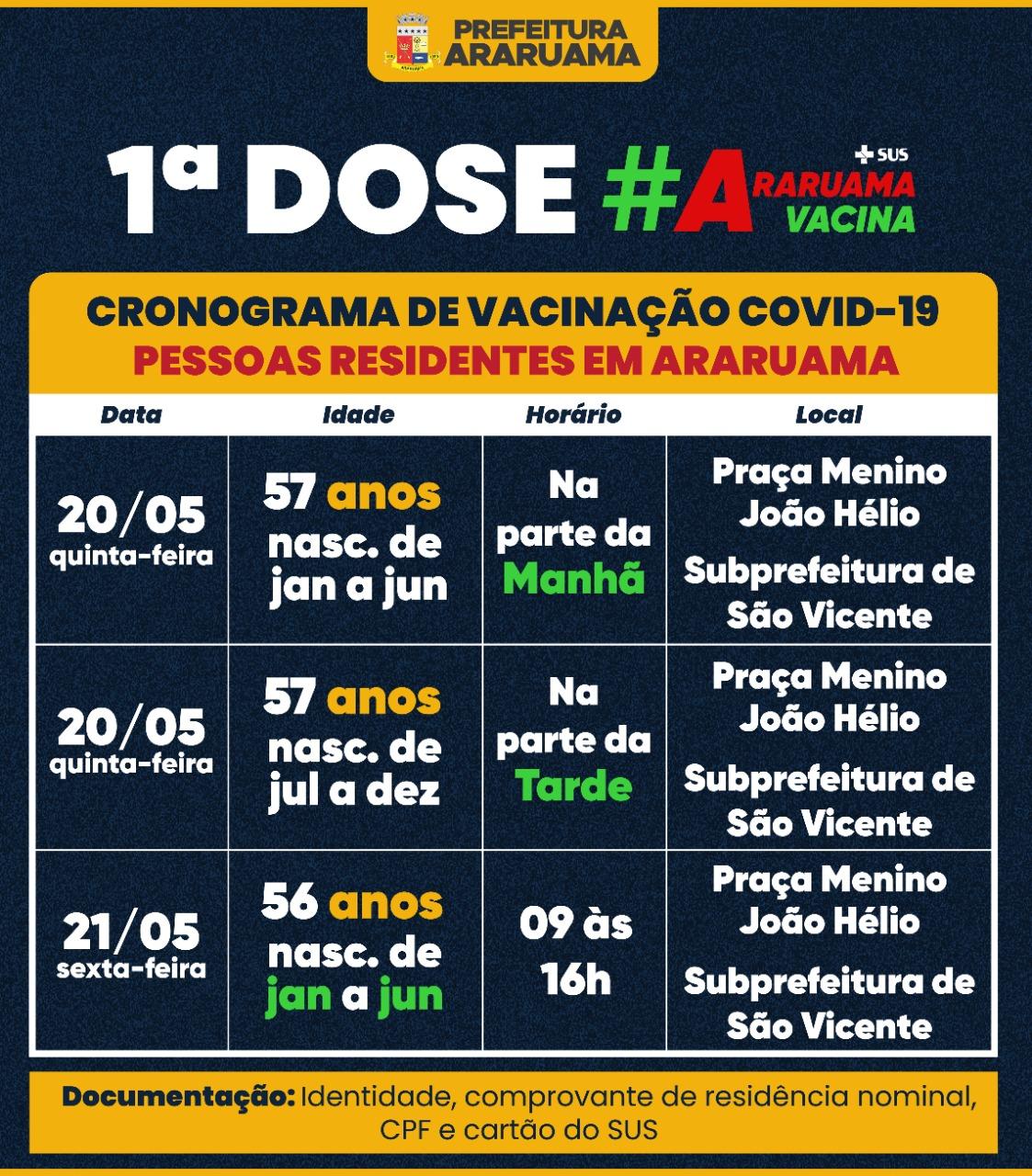 Prefeitura de Araruama retoma vacinação contra a Covid-19 por ordem de idade