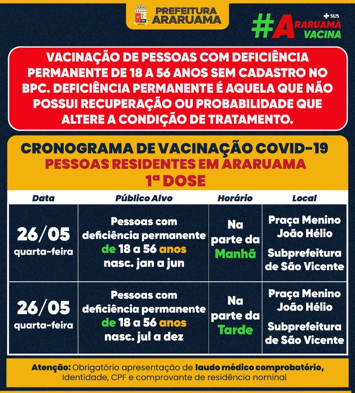 Calendário de vacinação da primeira dose para pessoas de 18 a 56 anos com deficiência permanente não cadastradas no BPC