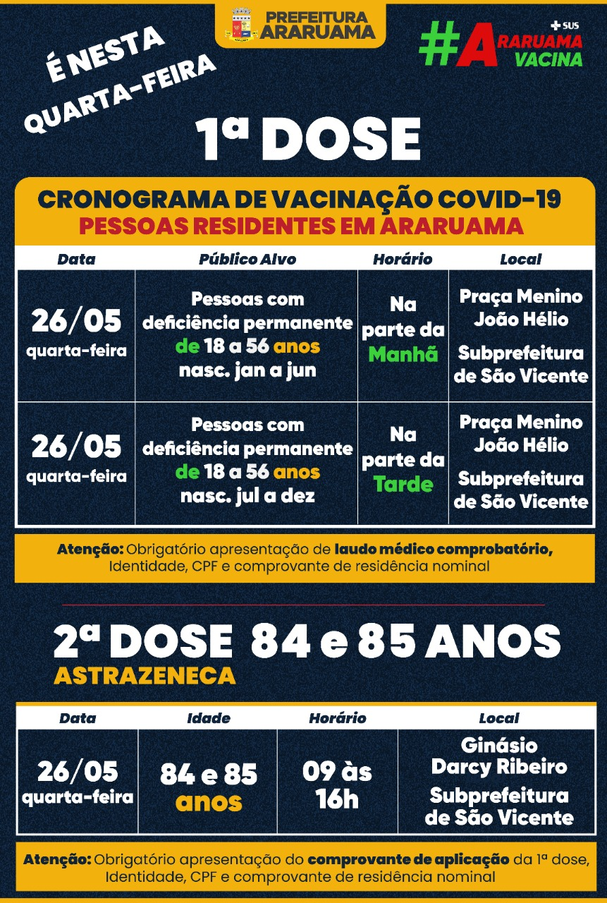 Calendário de vacinação para essa quarta-feira, 26