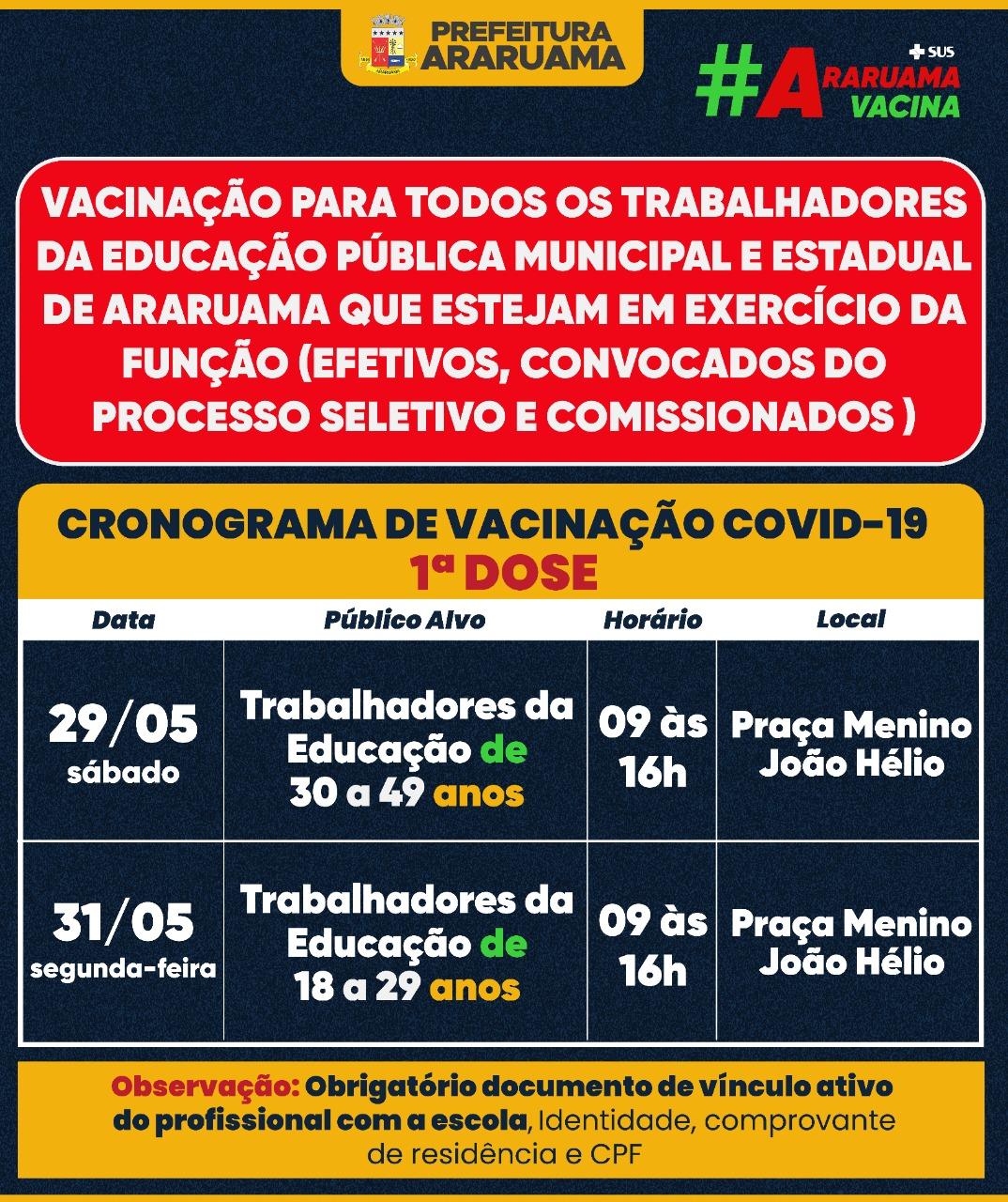 Calendário de vacinação para todos os profissionais da Educação das Redes Municipal e Estadual que estão no exercício da função