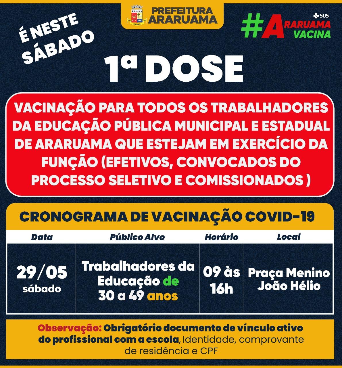 Calendário de vacinação para esse sábado, 29