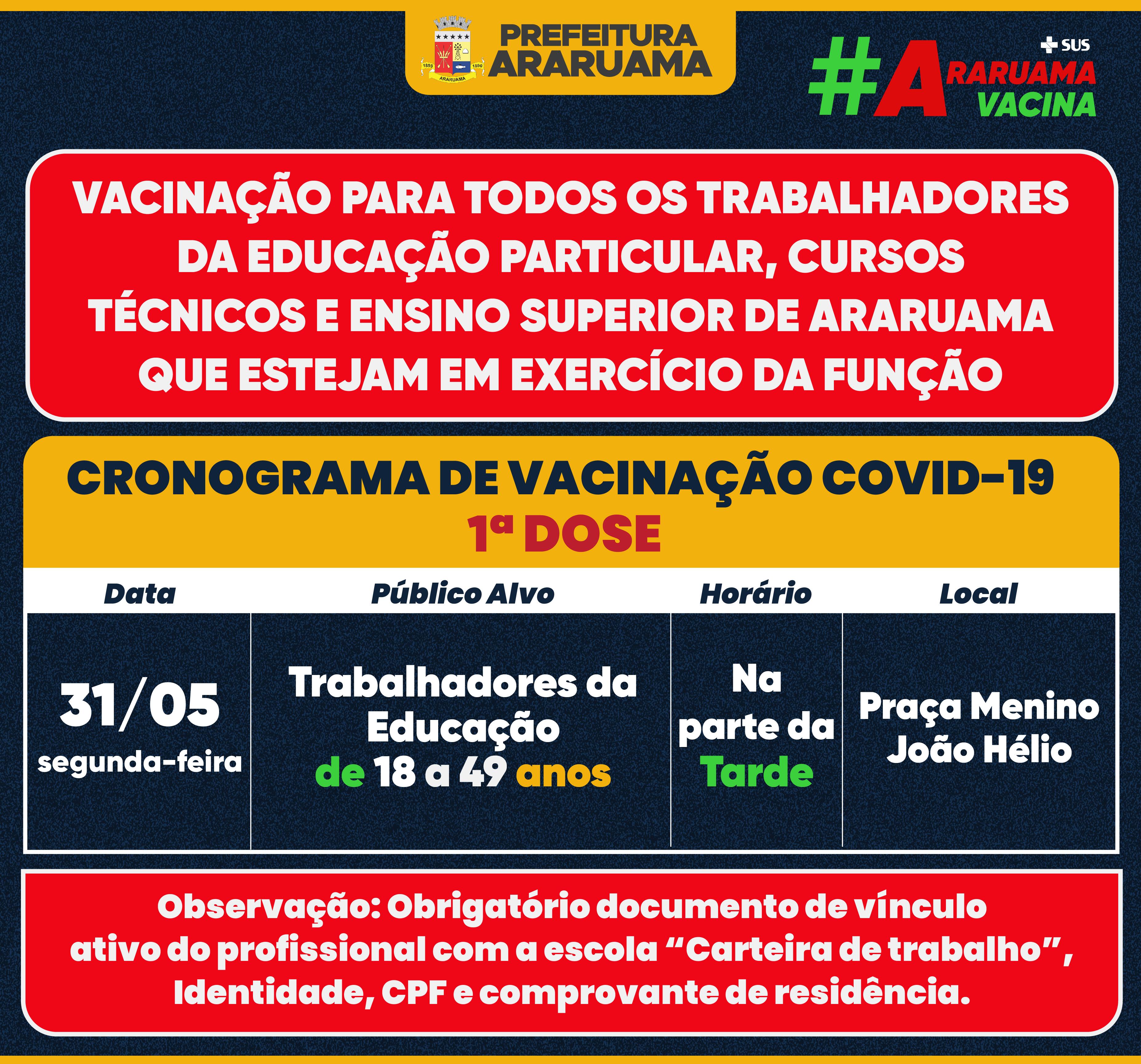 Calendário de vacinação para todos os profissionais da Educação da Rede Particular, Cursos Técnicos e Ensino Superior de Araruama