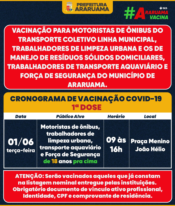 Calendário de vacinação para novos grupos prioritários na terça-feira, 01