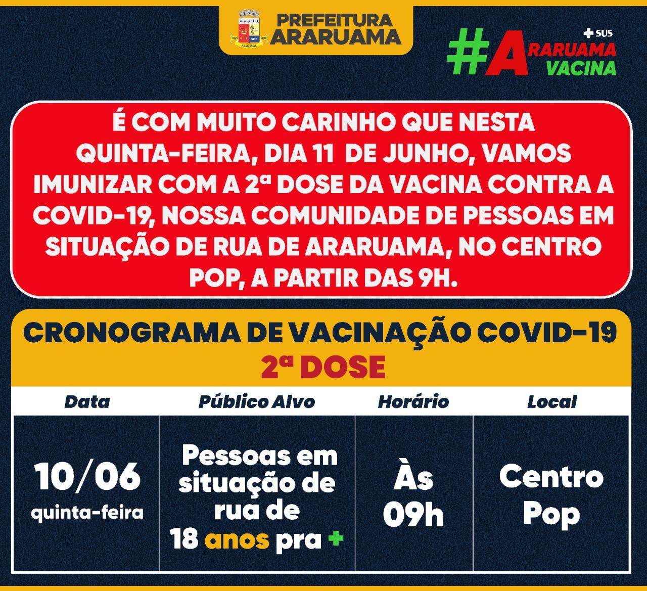"""Prefeitura de Araruama prepara logística para vacinar com a segunda dose a comunidade de pessoas em situação de rua"""", nesta quinta-feira"""