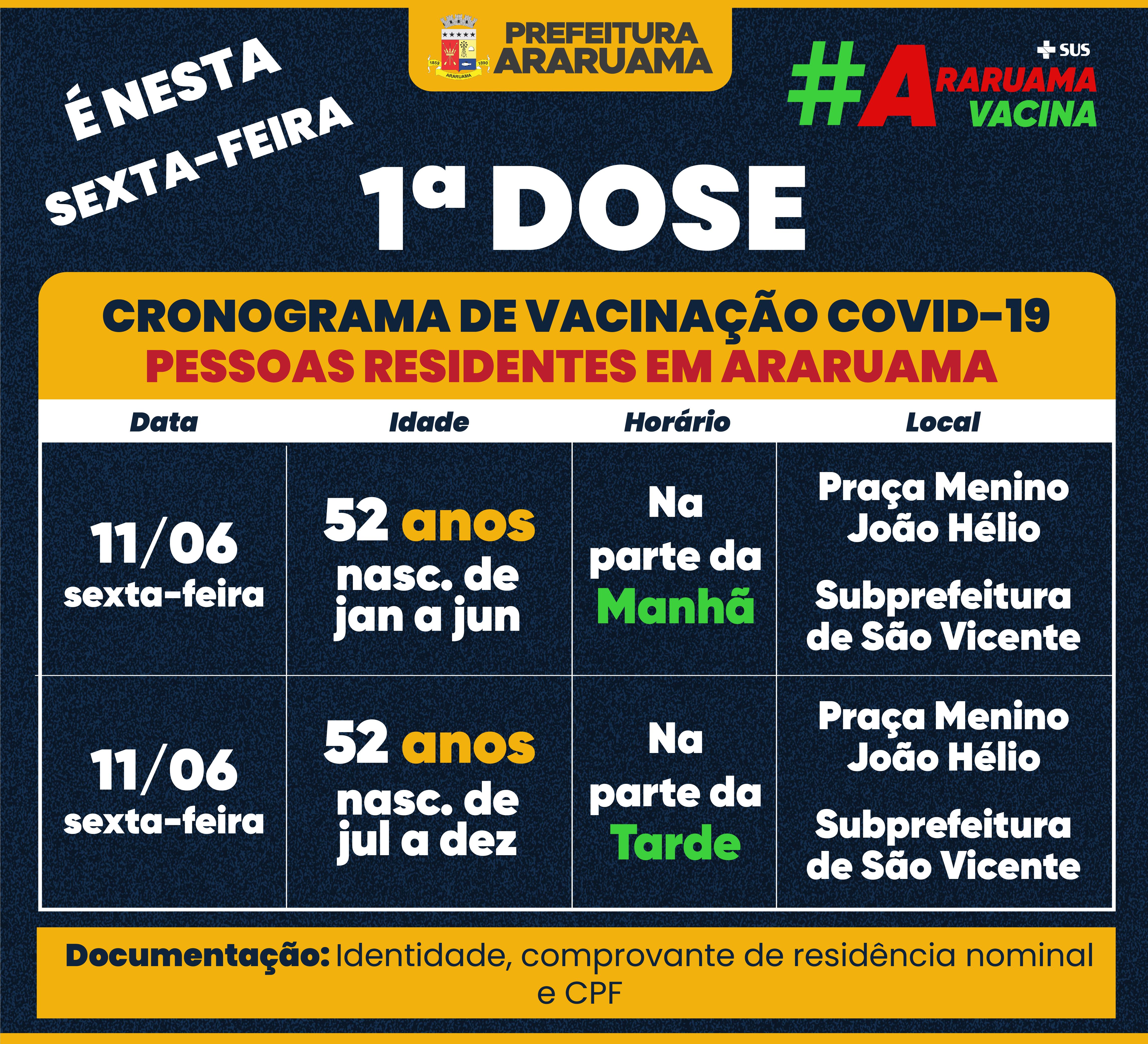 Calendário de vacinação para essa sexta-feira, 11