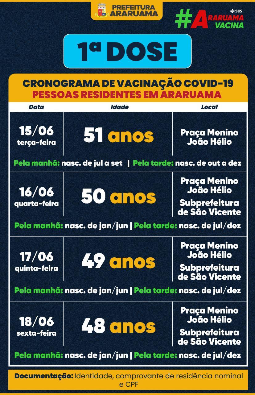 Cronograma de vacinação para pessoas de 48 a 51 anos