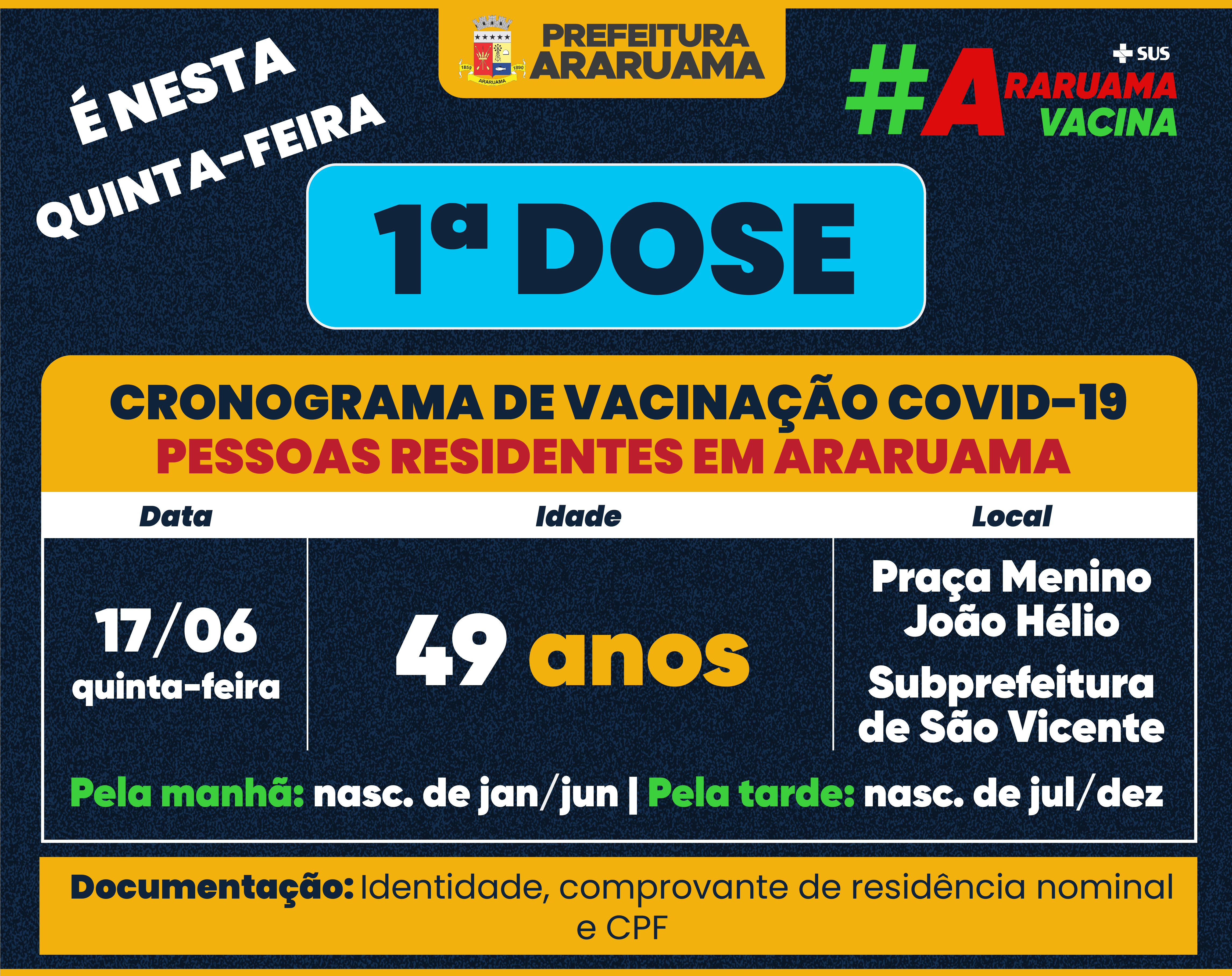 Calendário de vacinação para essa quinta-feira, 17