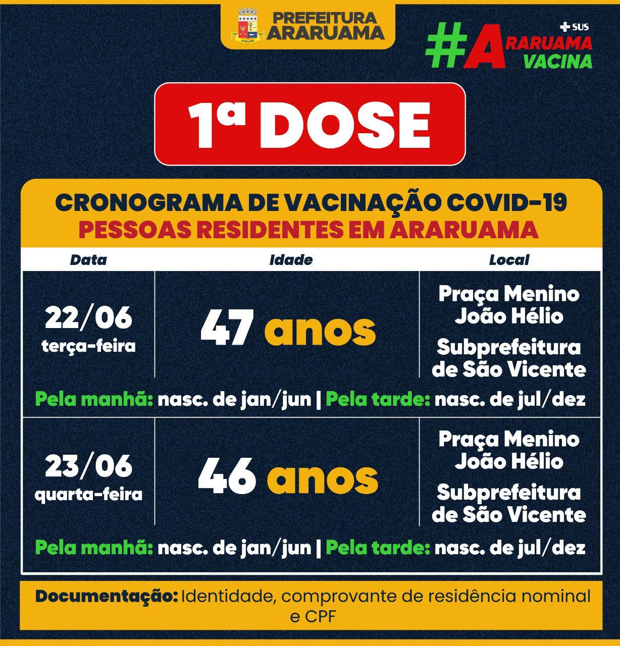 Calendário de vacinação para pessoas de 46 e 47 anos