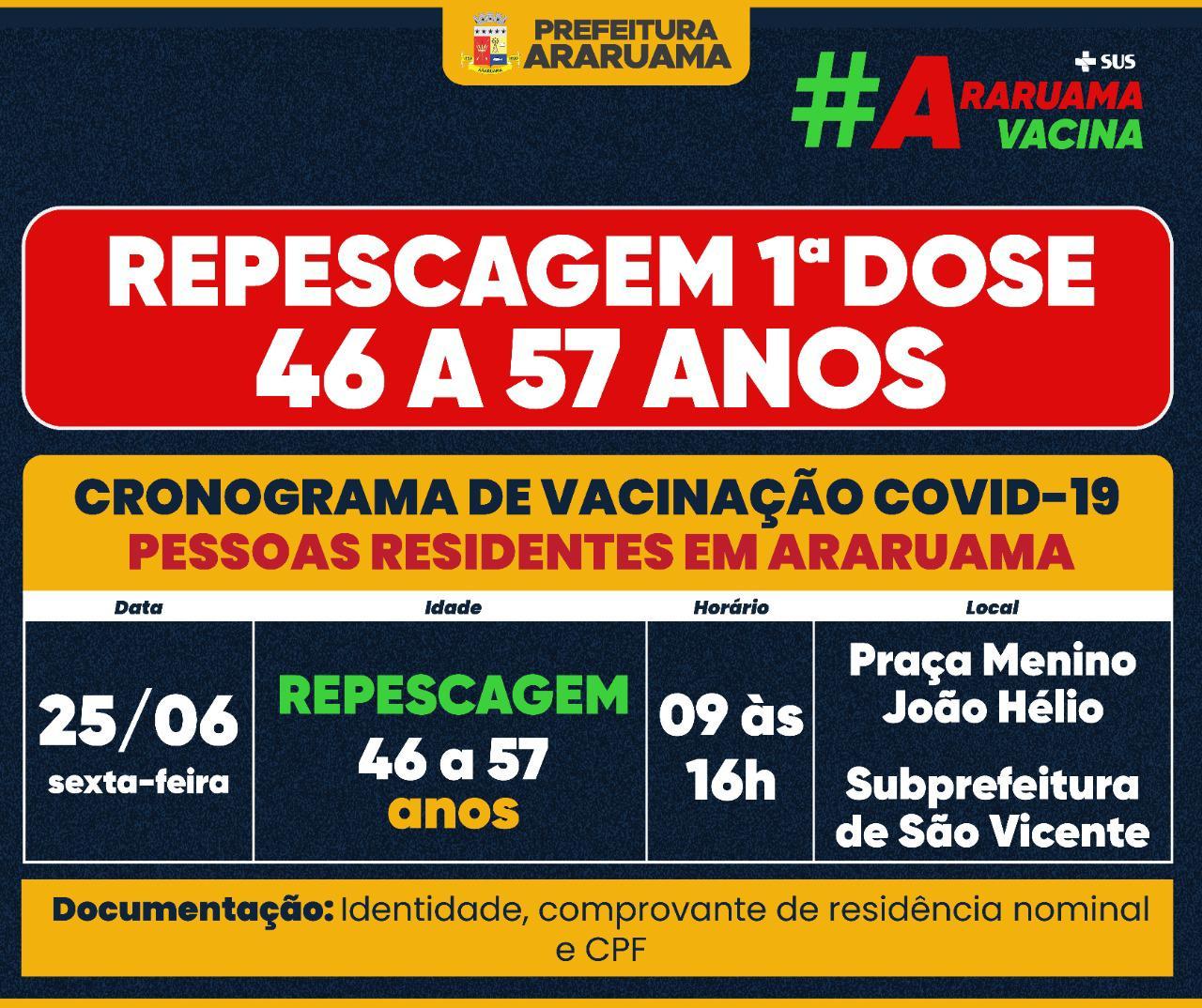 Prefeitura de Araruama anuncia repescagem da primeira dose para pessoas de 46 a 57 anos