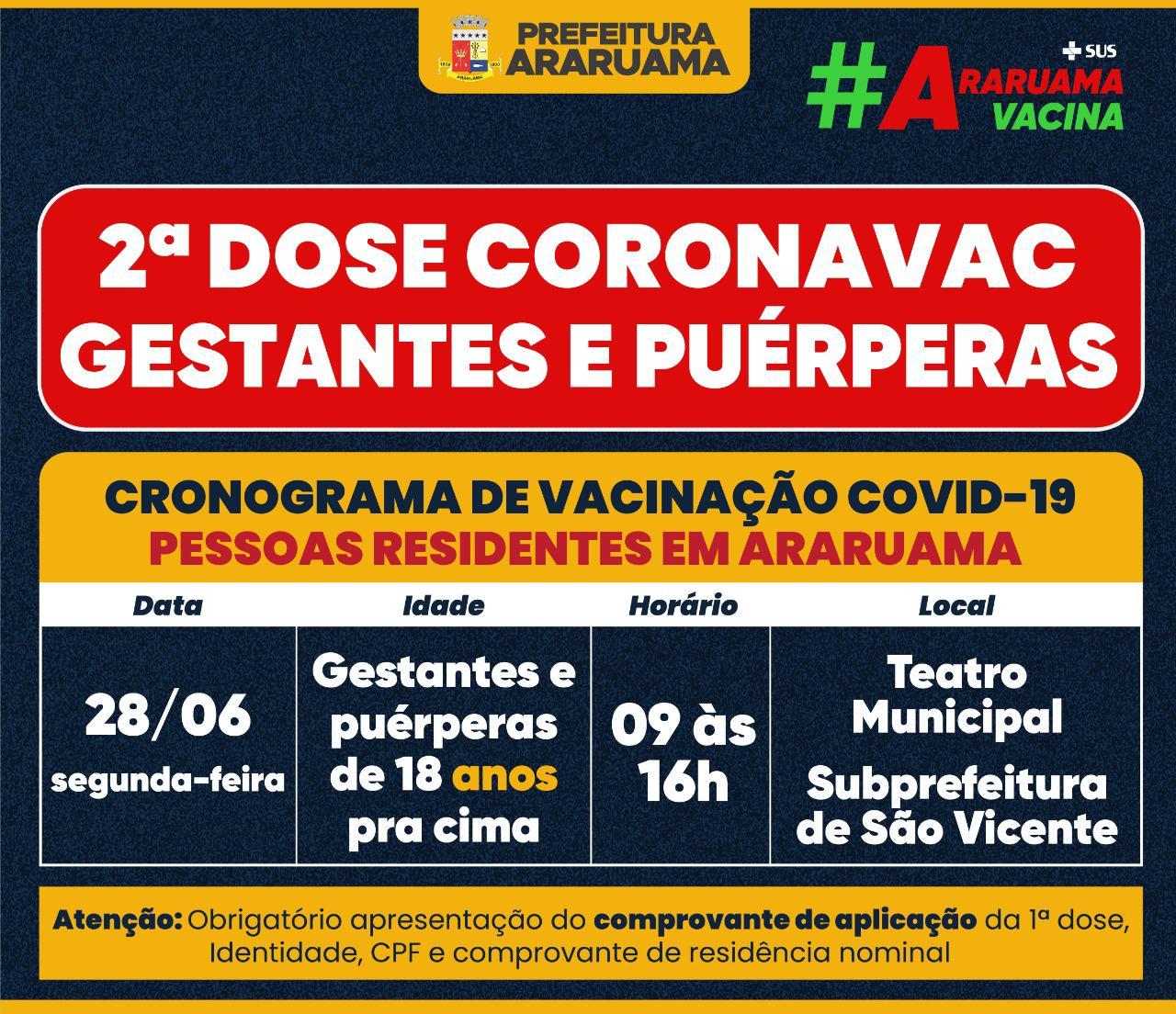 Calendário de vacinação da segunda dose da Coronavac para gestantes e puérperas