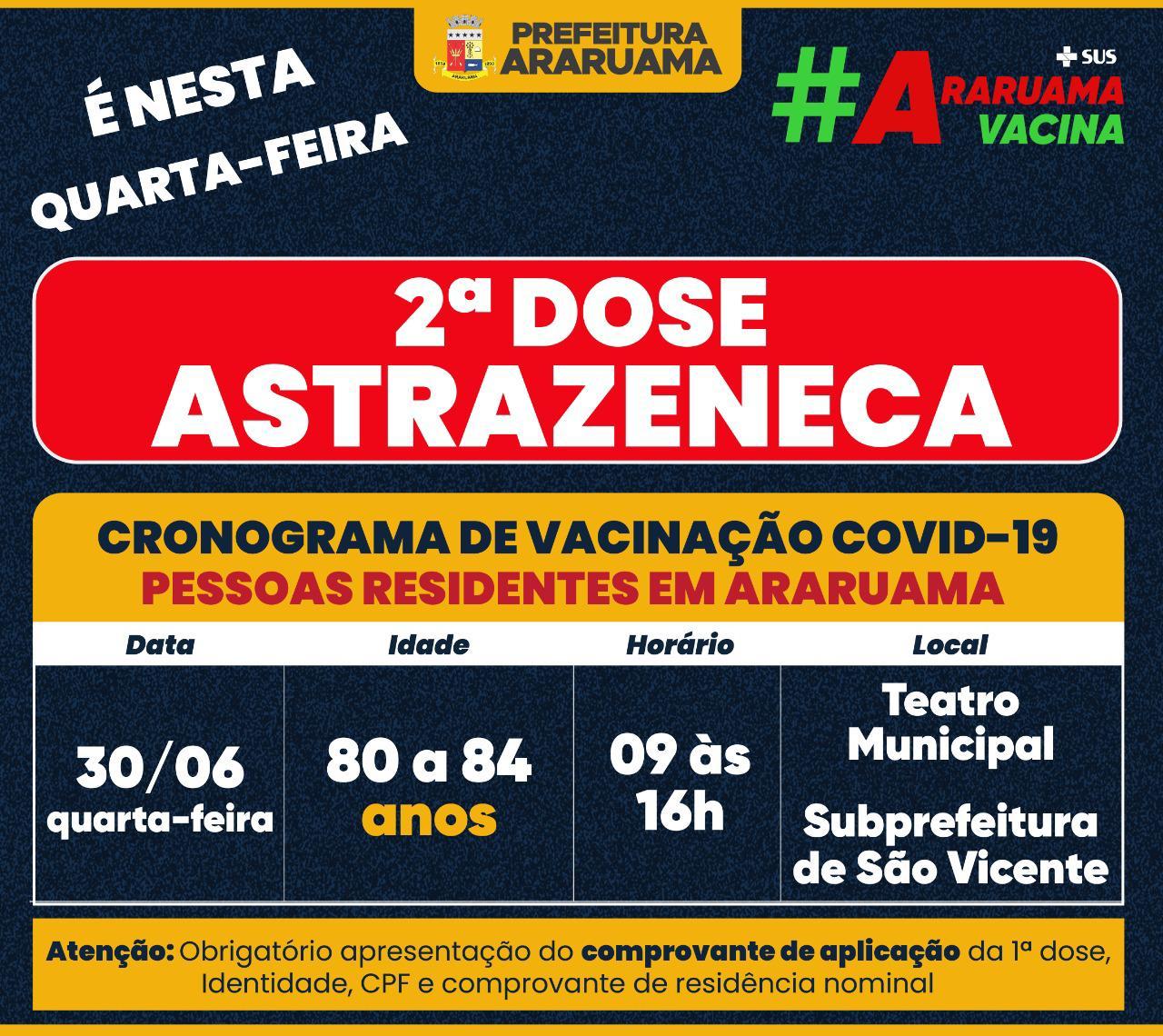 Calendário de vacinação da segunda dose Astrazeneca