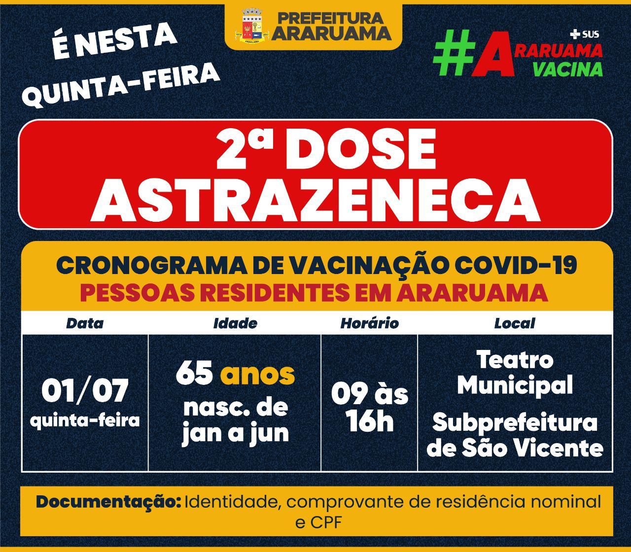Calendário de vacinação da segunda dose da Astrazeneca para pessoas de 65 anos, nascidas de janeiro a junho