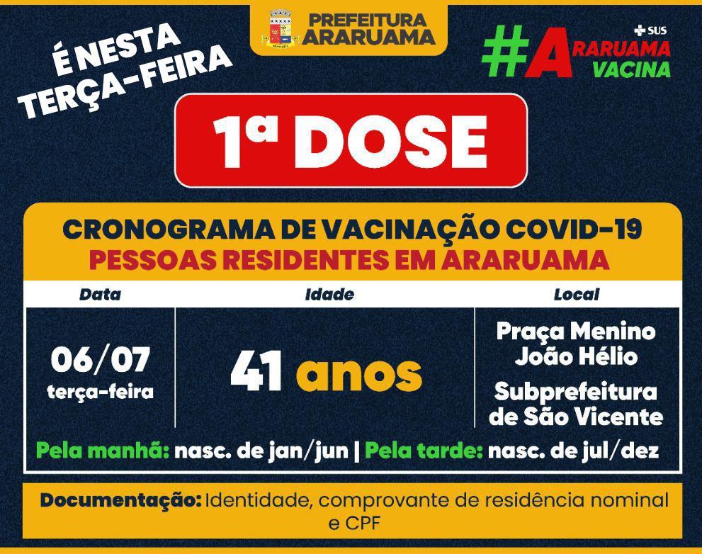 Calendário de vacinação da primeira dose para essa terça-feira, 06
