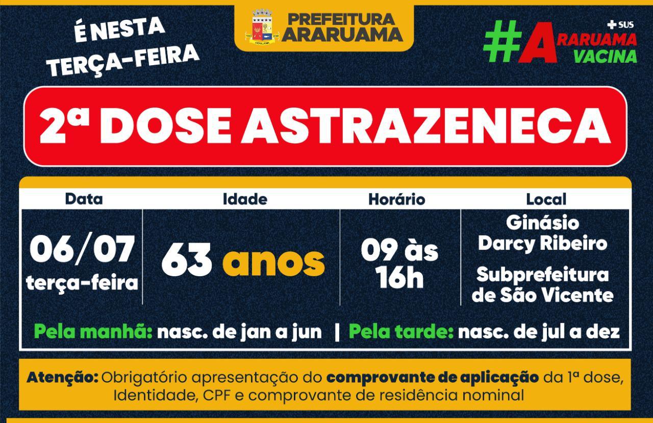 Calendário de vacinação da segunda dose da Astrazeneca para pessoas de 63 anos